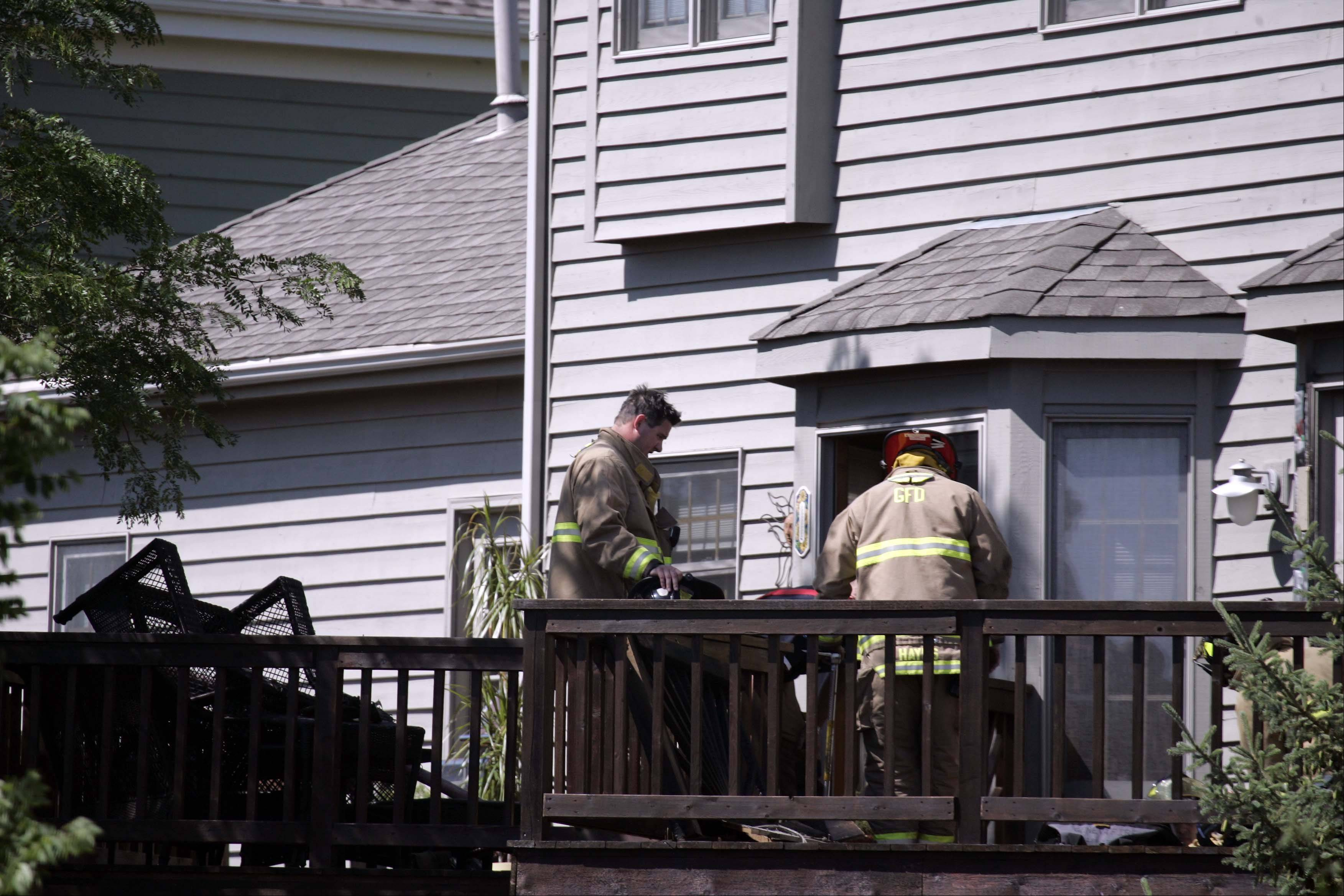 Geneva, Elburn, St. Charles and Batavia firefighters responded to a deck fire in the 200 block of Westhaven Circle in Geneva Wednesday. It was caused by discarded smoking materials, according to fire department officials.