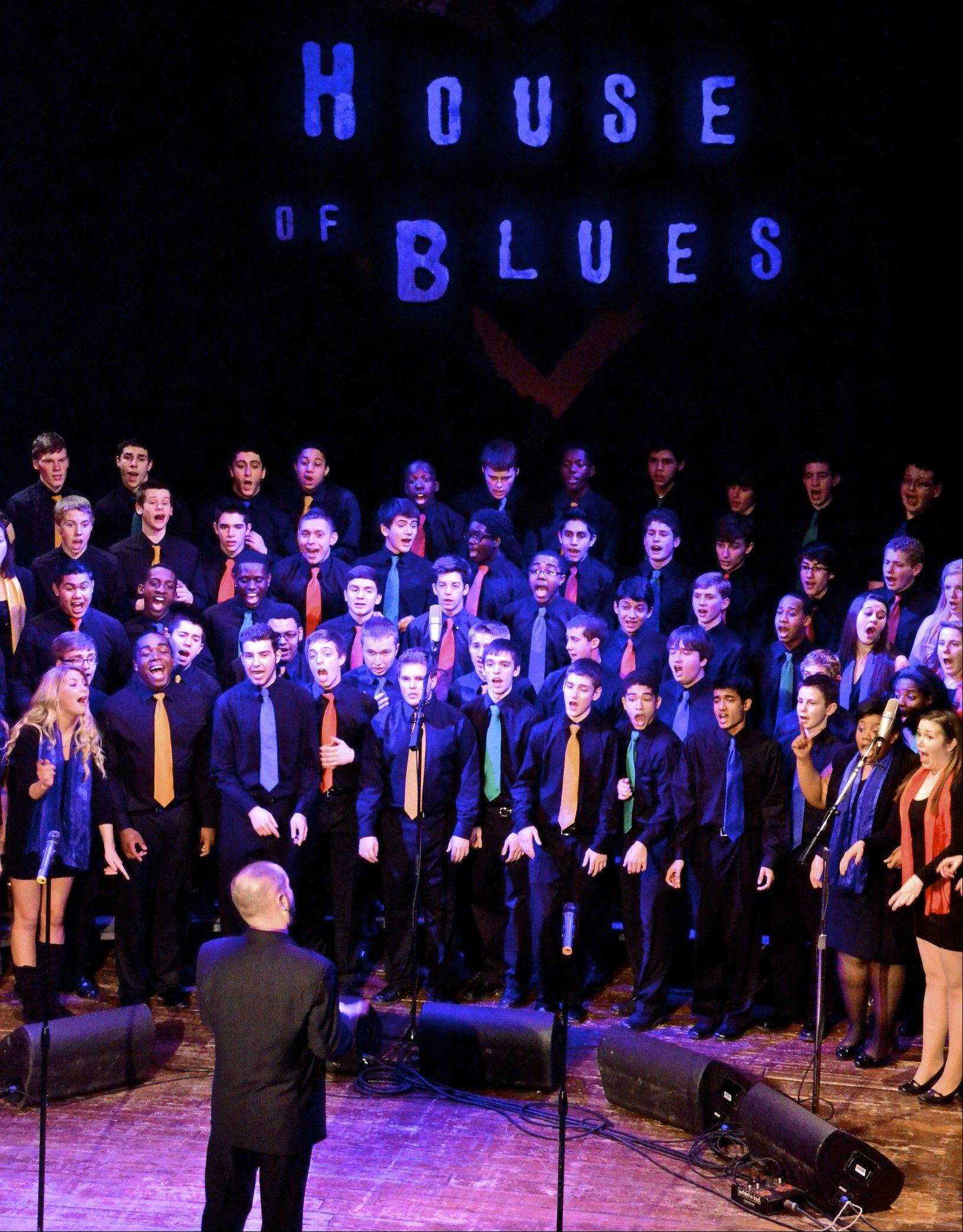 Led by Mark Myers, a Waubonsie Valley choral group gives a performance in the House of Blues in Chicago. Myers makes a point of introducing students to different genres of music and brings in other professionals to expose them to different teaching styles.