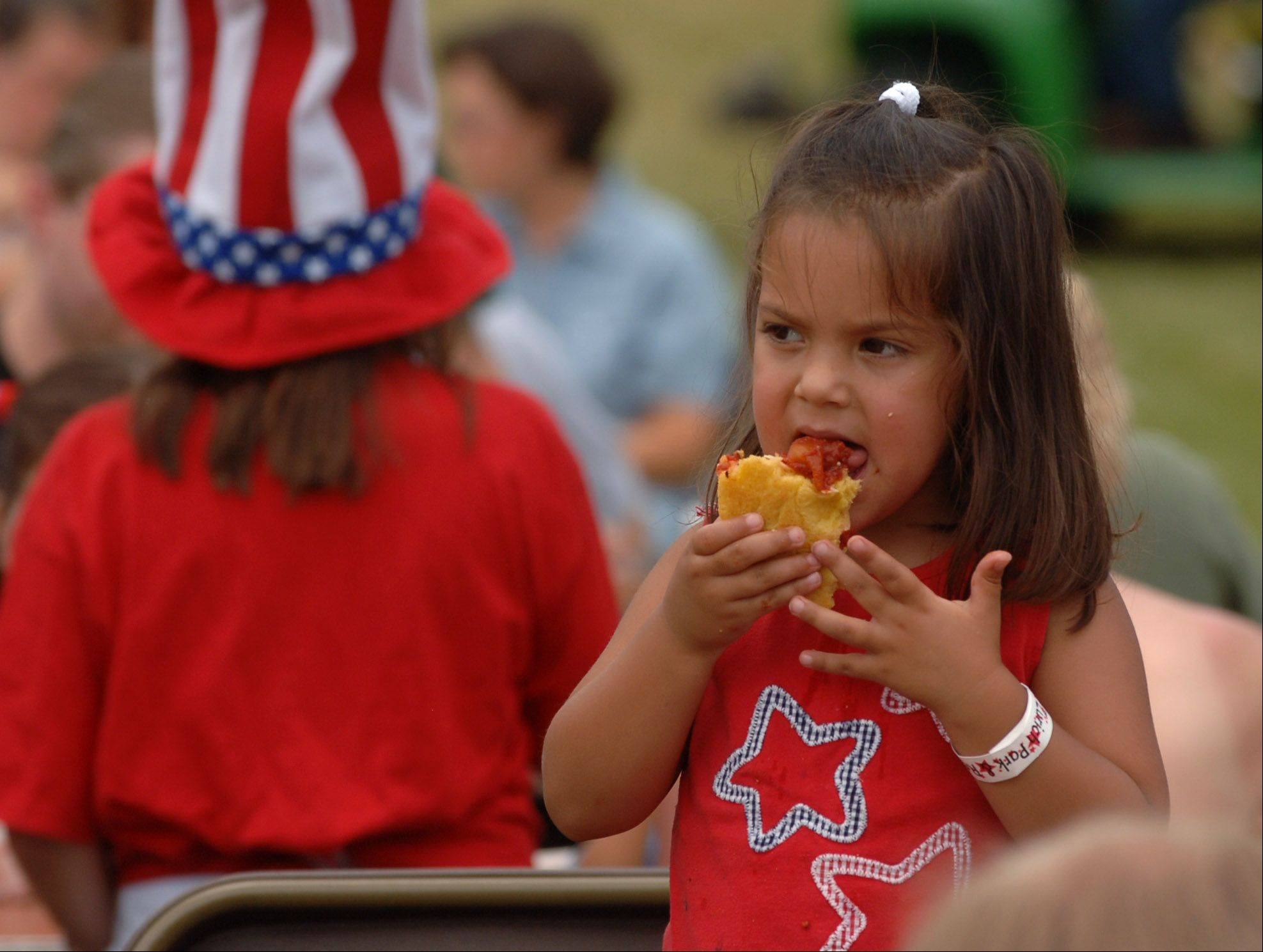 Food is a big part of the suburban July 4 festivals.