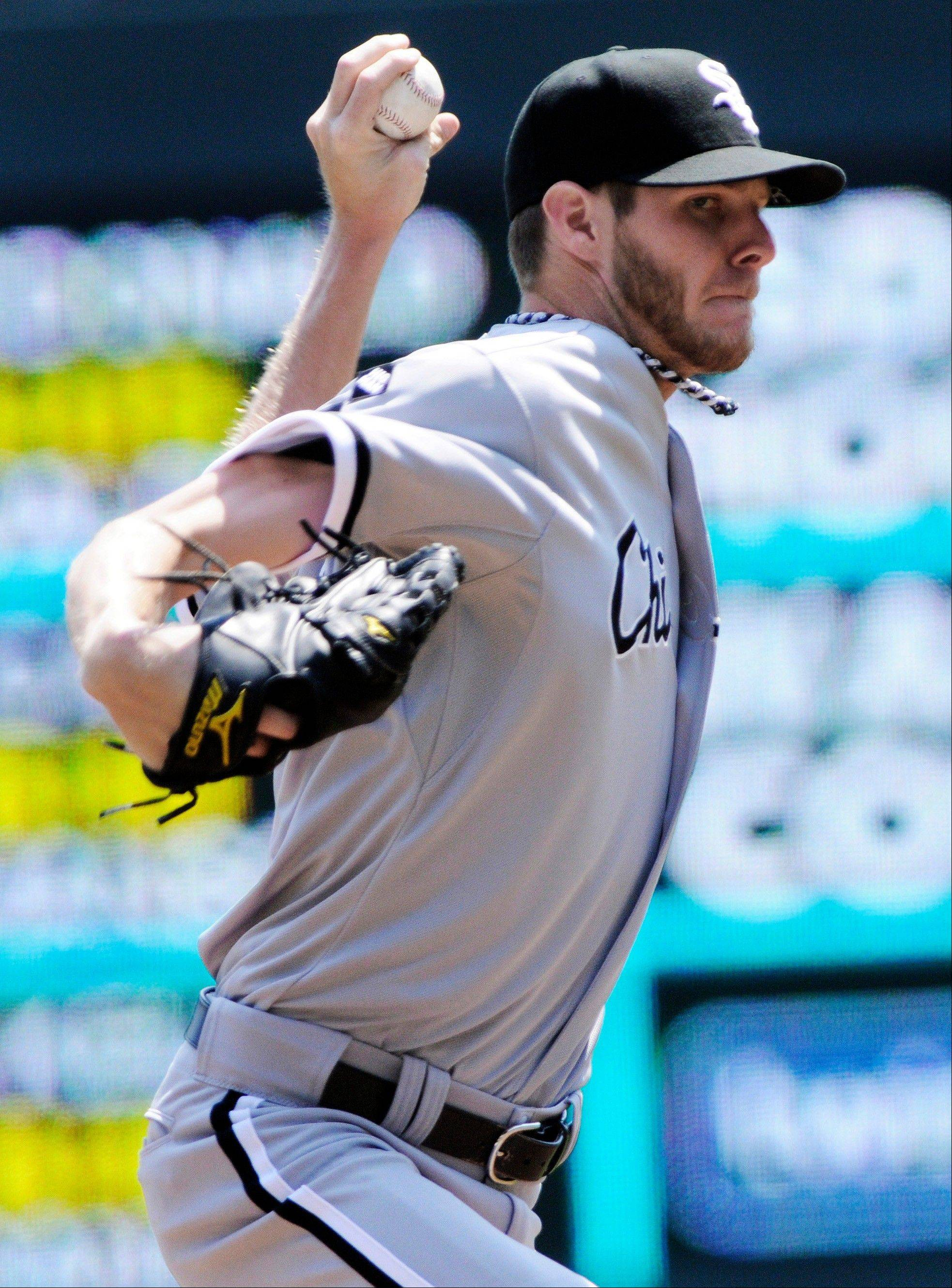 White Sox pitcher Chris Sale throws against the Minnesota Twins in the first inning Wednesday in Minneapolis.