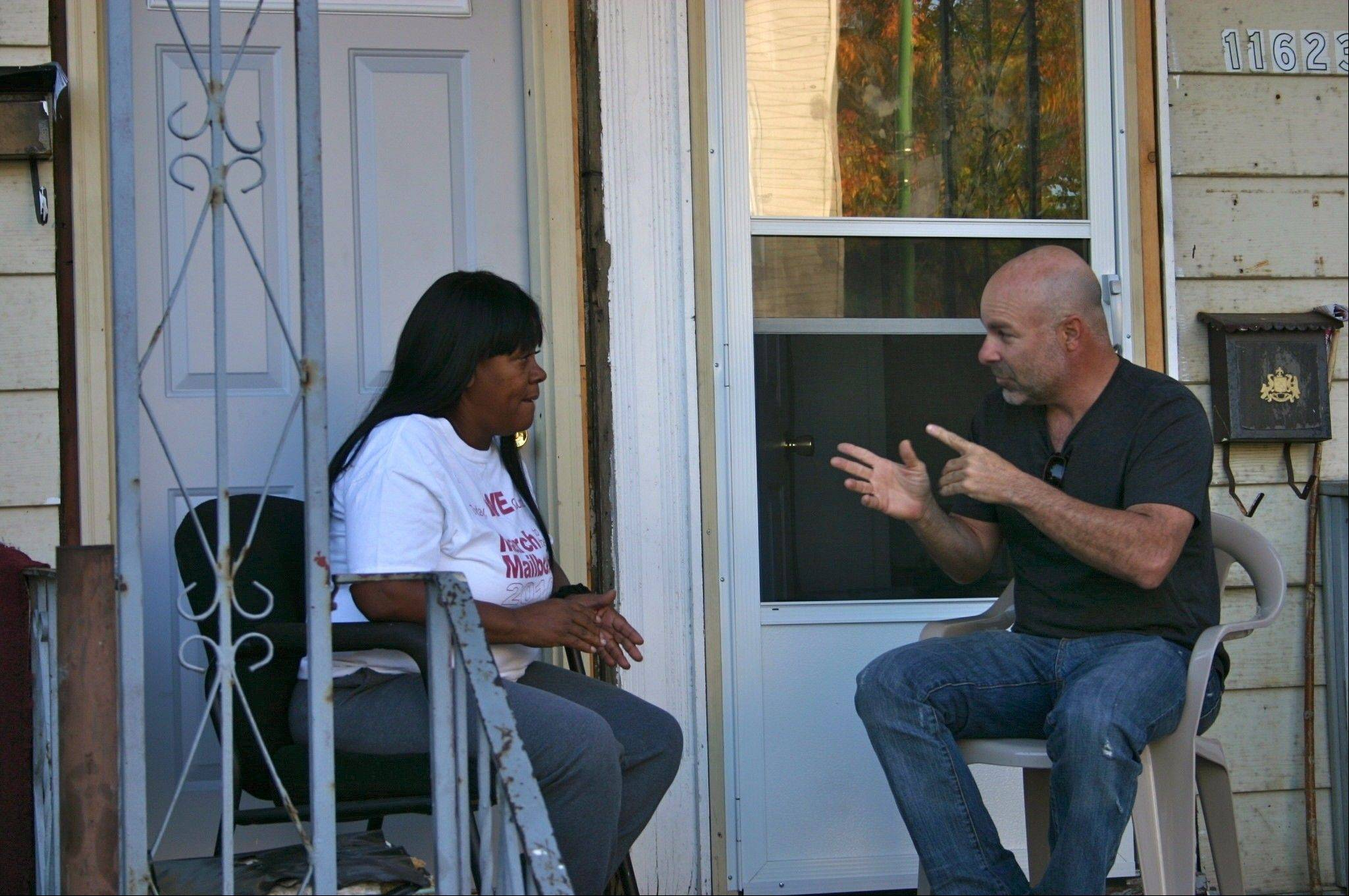 "Buffalo Grove's Steve Kaplan talks with Diane Latiker of the Chicago charity Kids Off The Block Inc. after volunteering with the charity on ABC's ""Secret Millionaire."" The episode starring Kaplan airs at 7 p.m. Sunday."