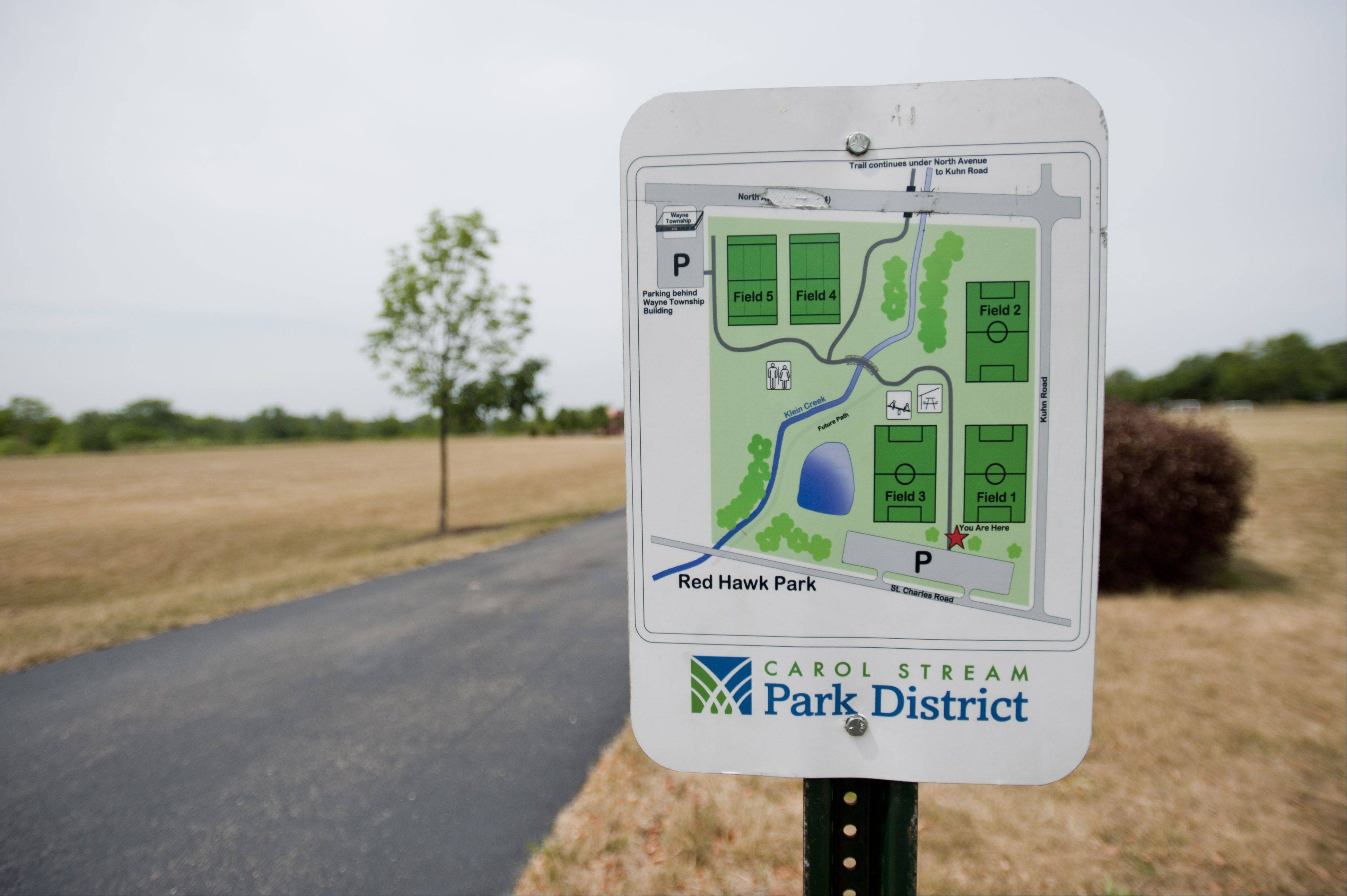 The Carol Stream Park District is building a bike path link that connects its existing trails with the Great Western Trail. The park trails currently end at St. Charles Road in Red Hawk Park.