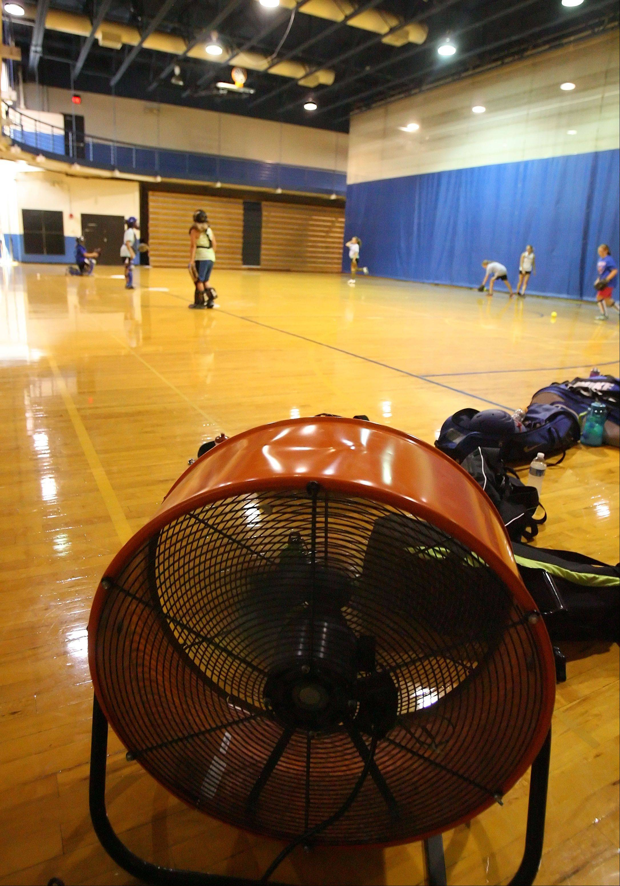 Fans cool the gym as the Lake Zurich High School softball camp went indoors to beat the heat Thursday.