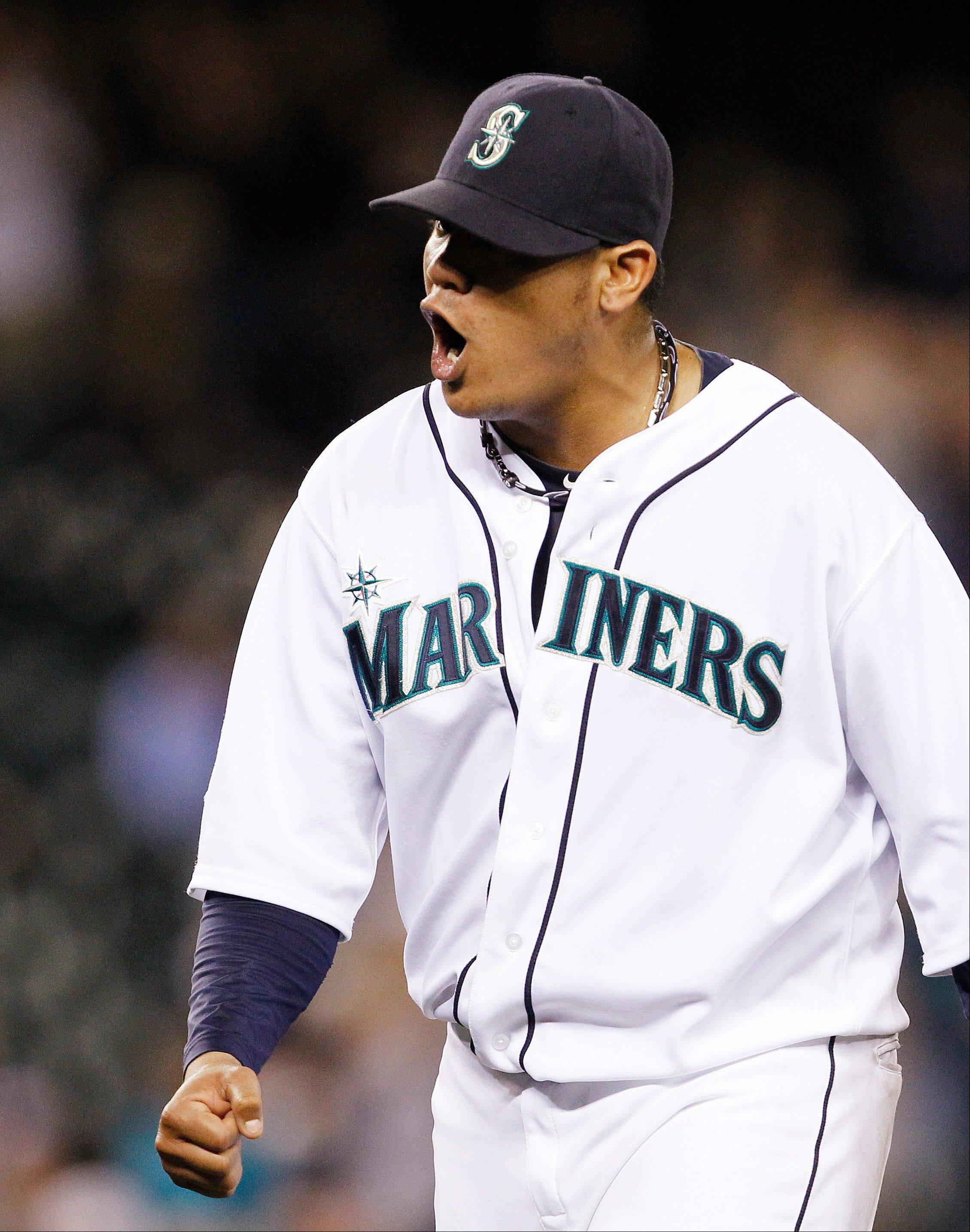 Seattle starting pitcher Felix Hernandez tossed his fifth career shutout Thursday in a home win over Boston.