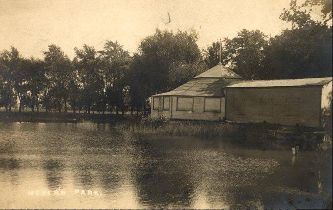 Meyer's Pond in old Arlington Heights, which was filled in when State Road (now Arlington Heights Road) was widened in 1934.