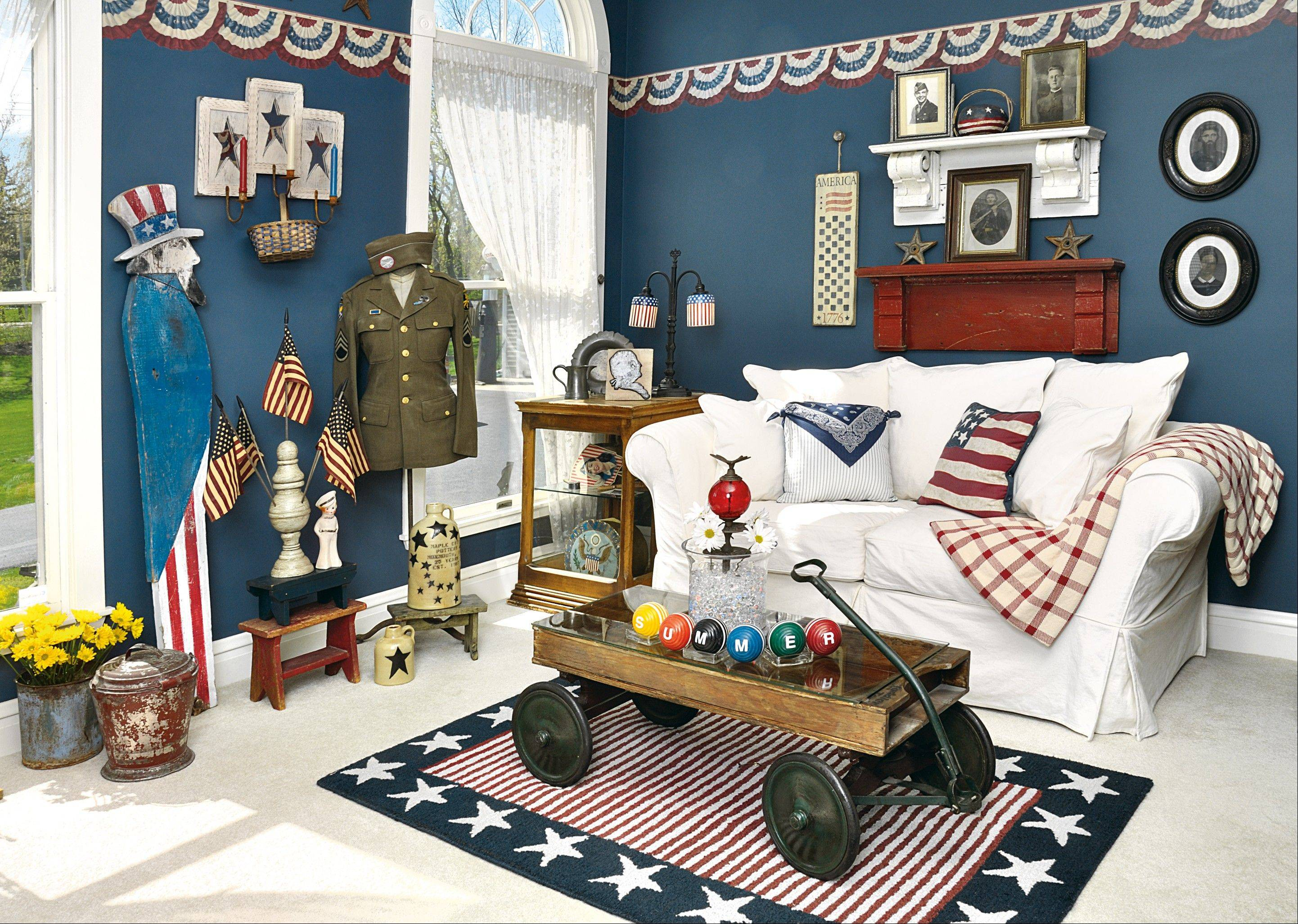 SALUTING AMERICANA: Tips 7 to 15 will show how Country Sampler stylists gave homage to Americana.