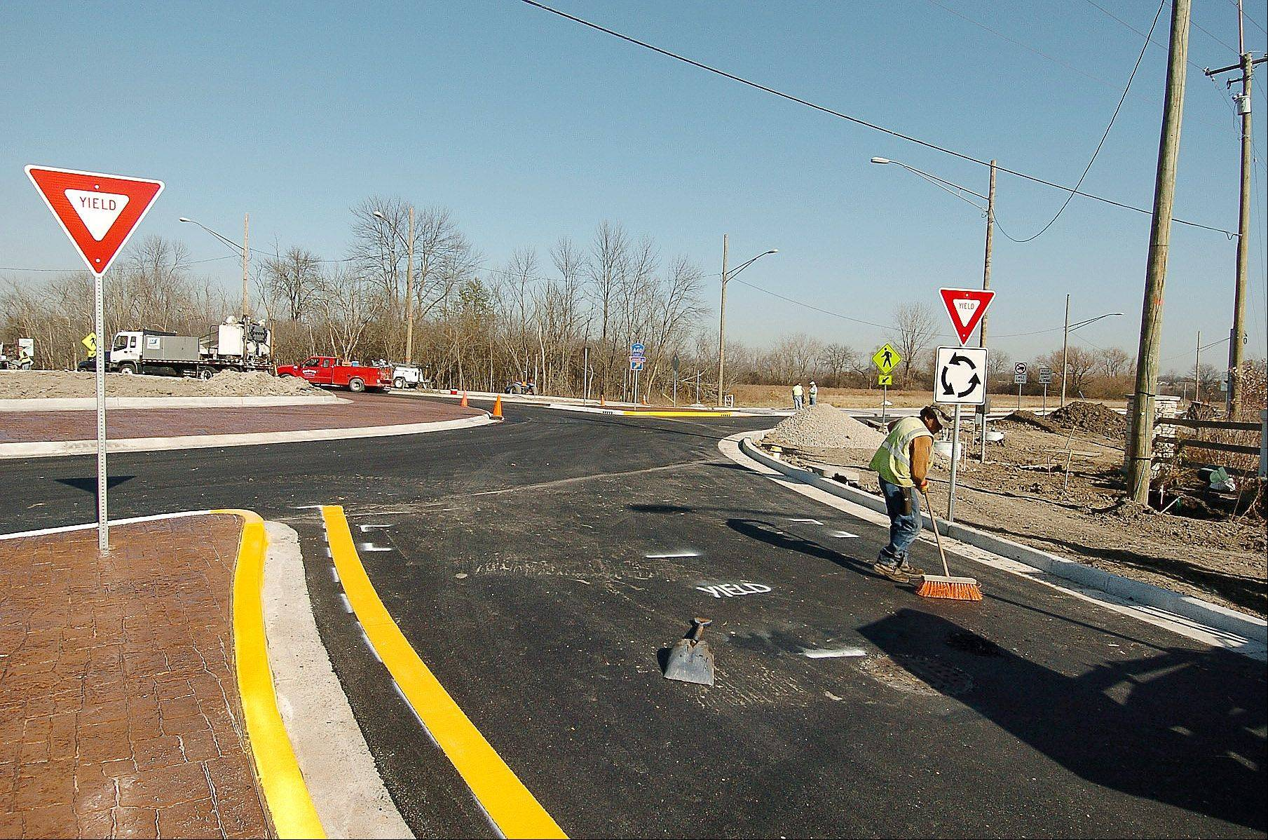 This new roundabout is at the intersection of Everett Road and Riverwoods Road in Lincolnshire.