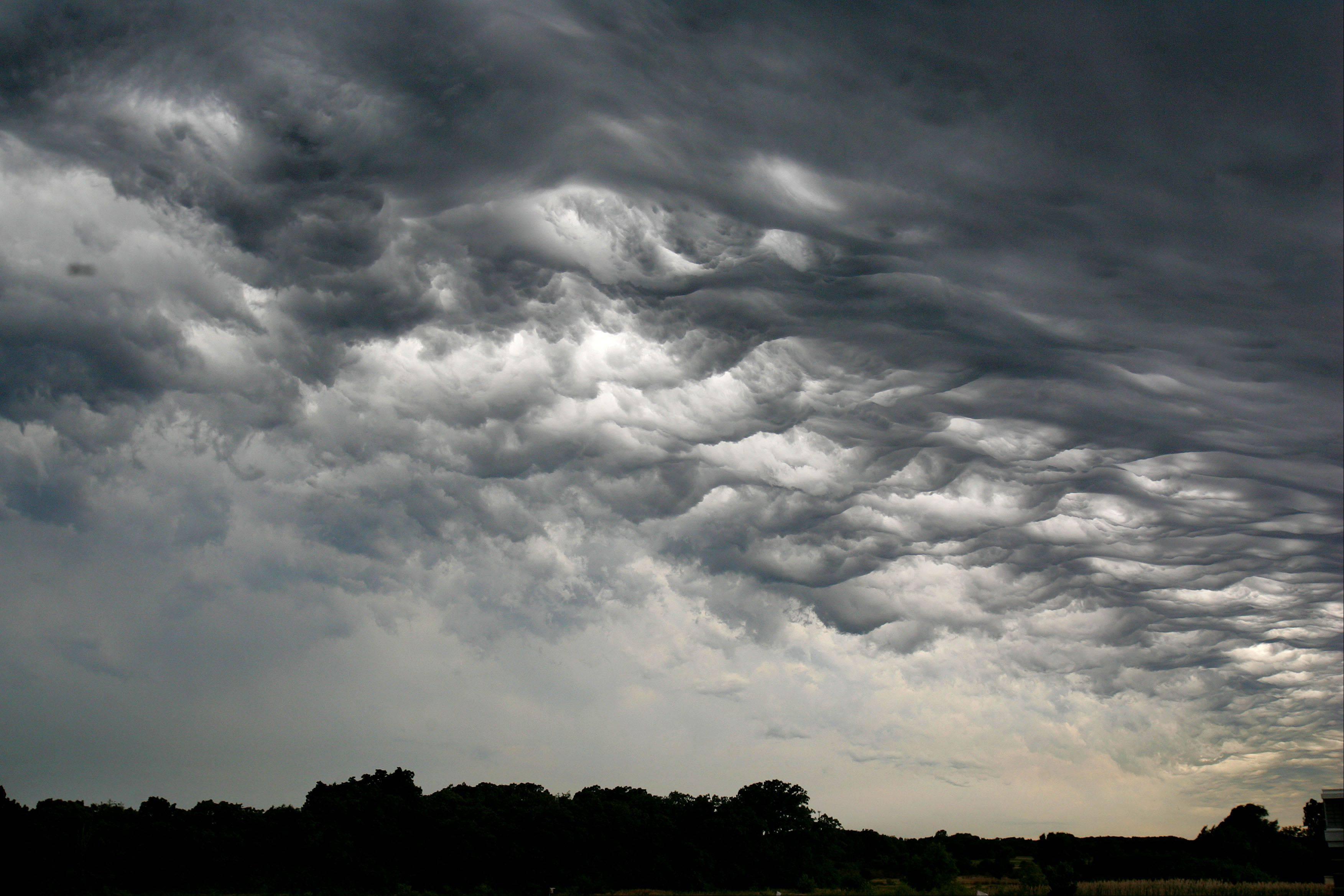 An interesting cloud pattern forms as a thunderstorm moves through Mundelein Friday morning.