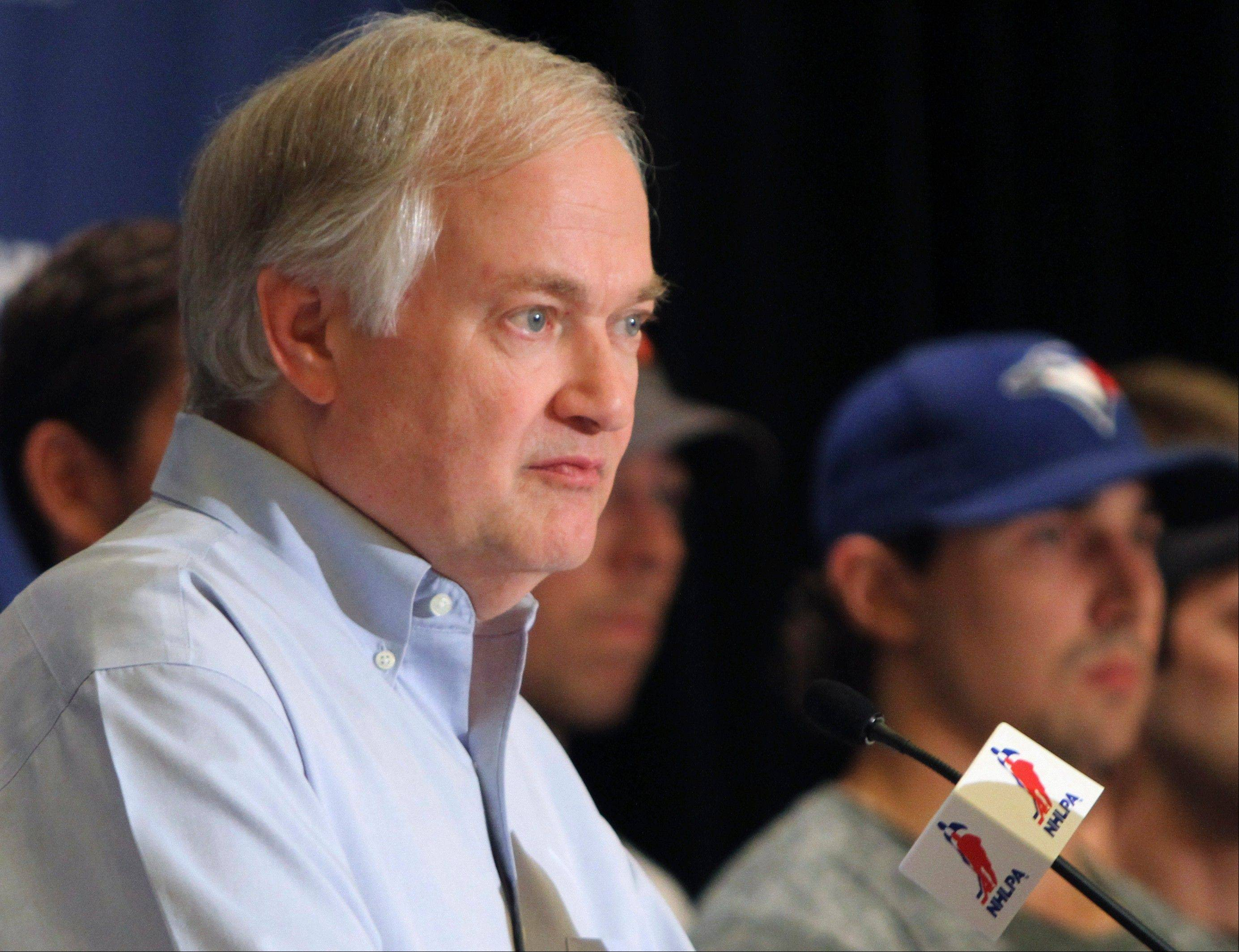 NHL Players Association executive director Donald Fehr listens to a question during a news conference Wednesday in Chicago, and the players have to be happy to have him on their side.