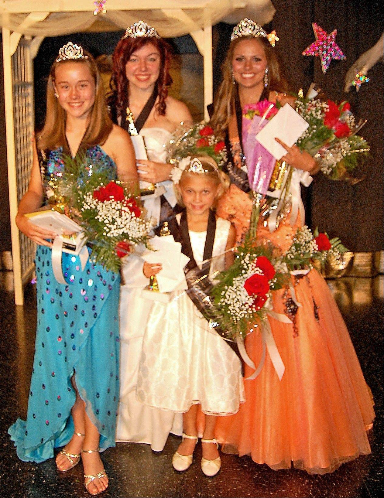 The 2012 Grant Township queens: Little Miss Grant Township Jennie Woodruff, Junior Miss Grant Township Gabriela Schoenberg, Teen Miss Grant Township Jessie Burdett and Miss Grant Township Bethani Jacobsen.