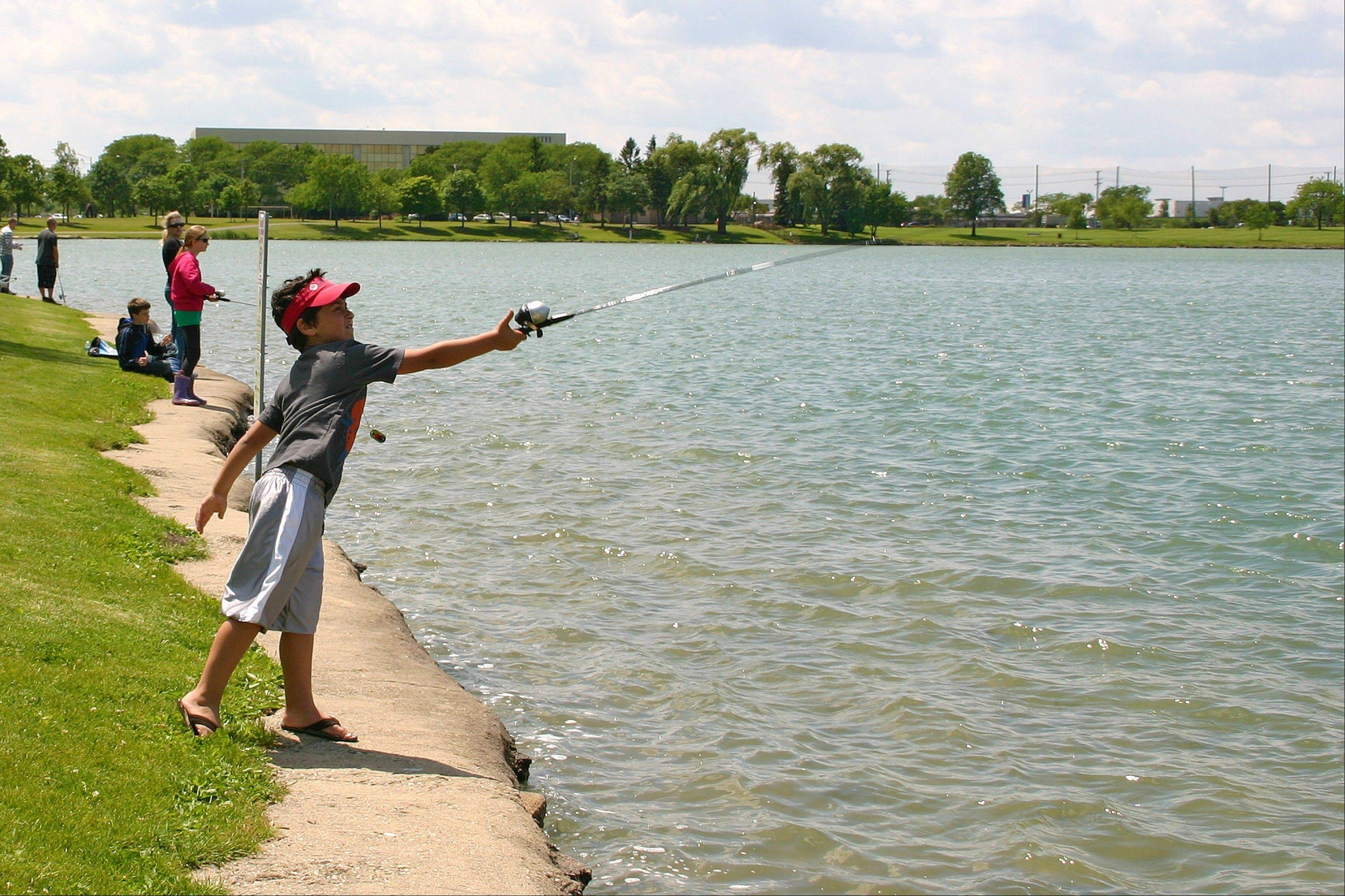 Dominic Fosco casts his line into Lake Opeka at the Des Plaines Optimist's Club free Fishing Derby on June 2.