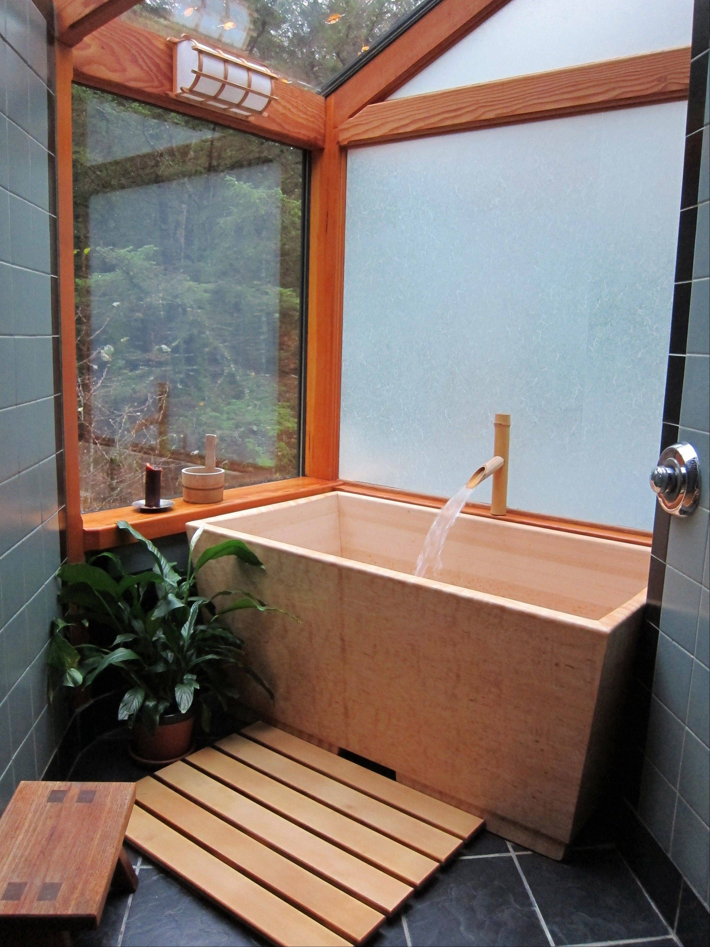 The Sea Otter Woodworks' Kyoto soaking tub is made of fragrant Hinoki cypress.