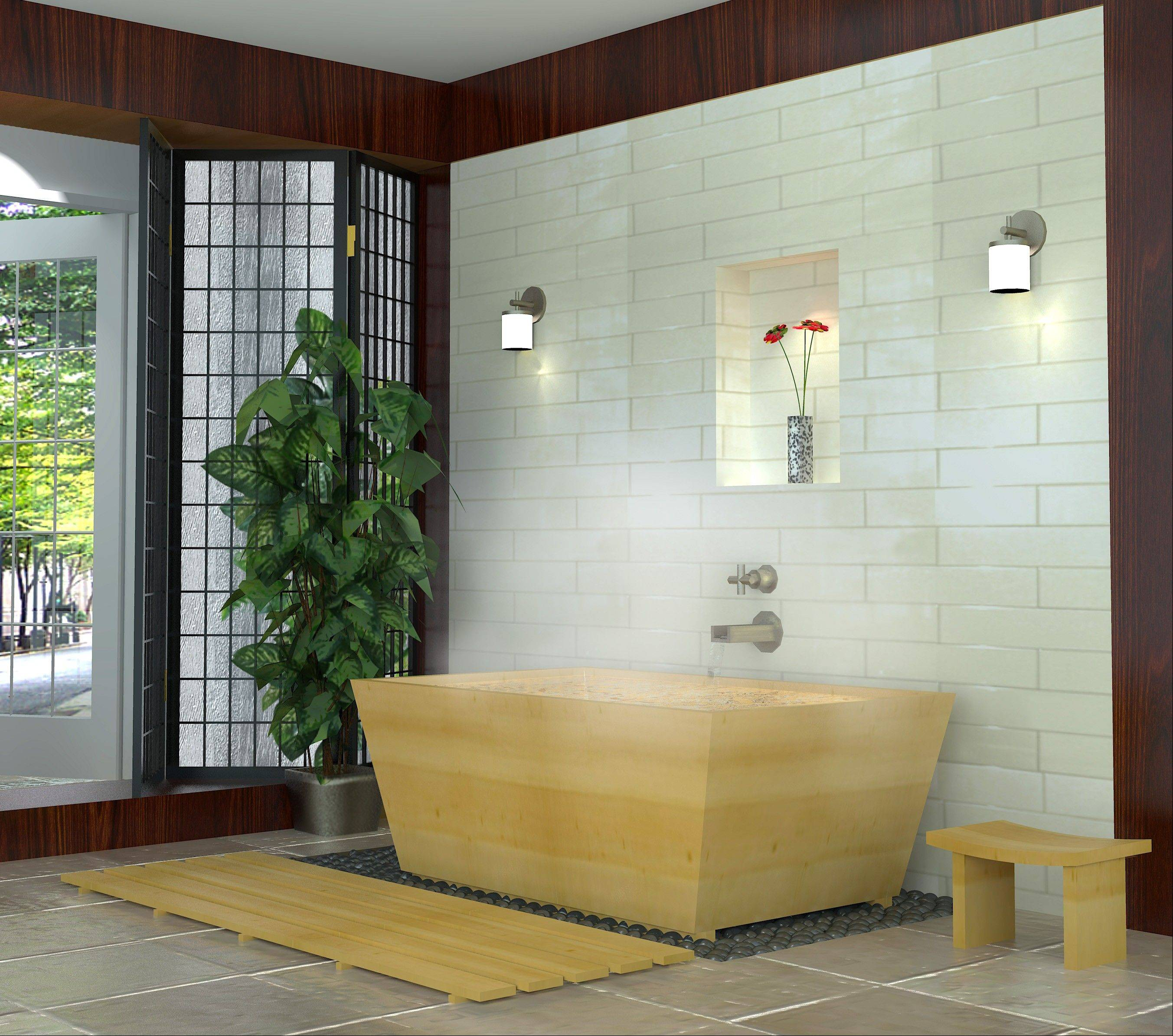 The Sea Otter Woodworks' Kyoto large soaking tub is made of fragrant Hinoki cypress.
