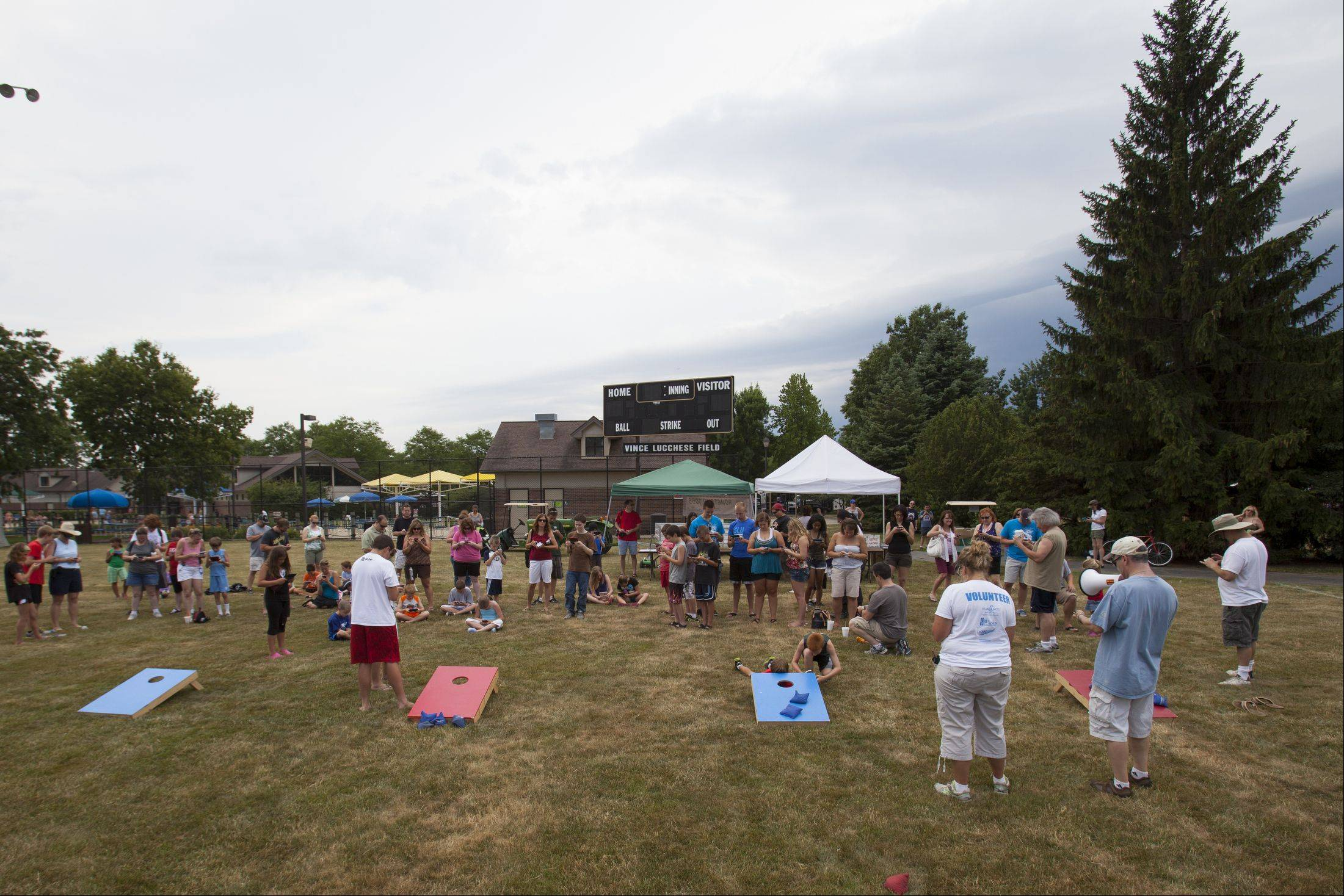 "A crowd of 123 gathered at Community Park in Palatine on Sunday to get in the ""Guinness Book of World Records"" for the most people playing handheld video games at one time. The event as served as a fundraiser for Relay For Life and the American Cancer Society."