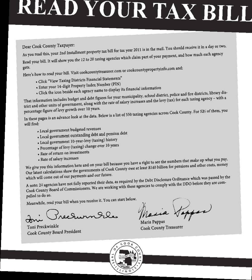 "Cover of ""Read Your Tax Bill"" in Sunday's Daily Herald."