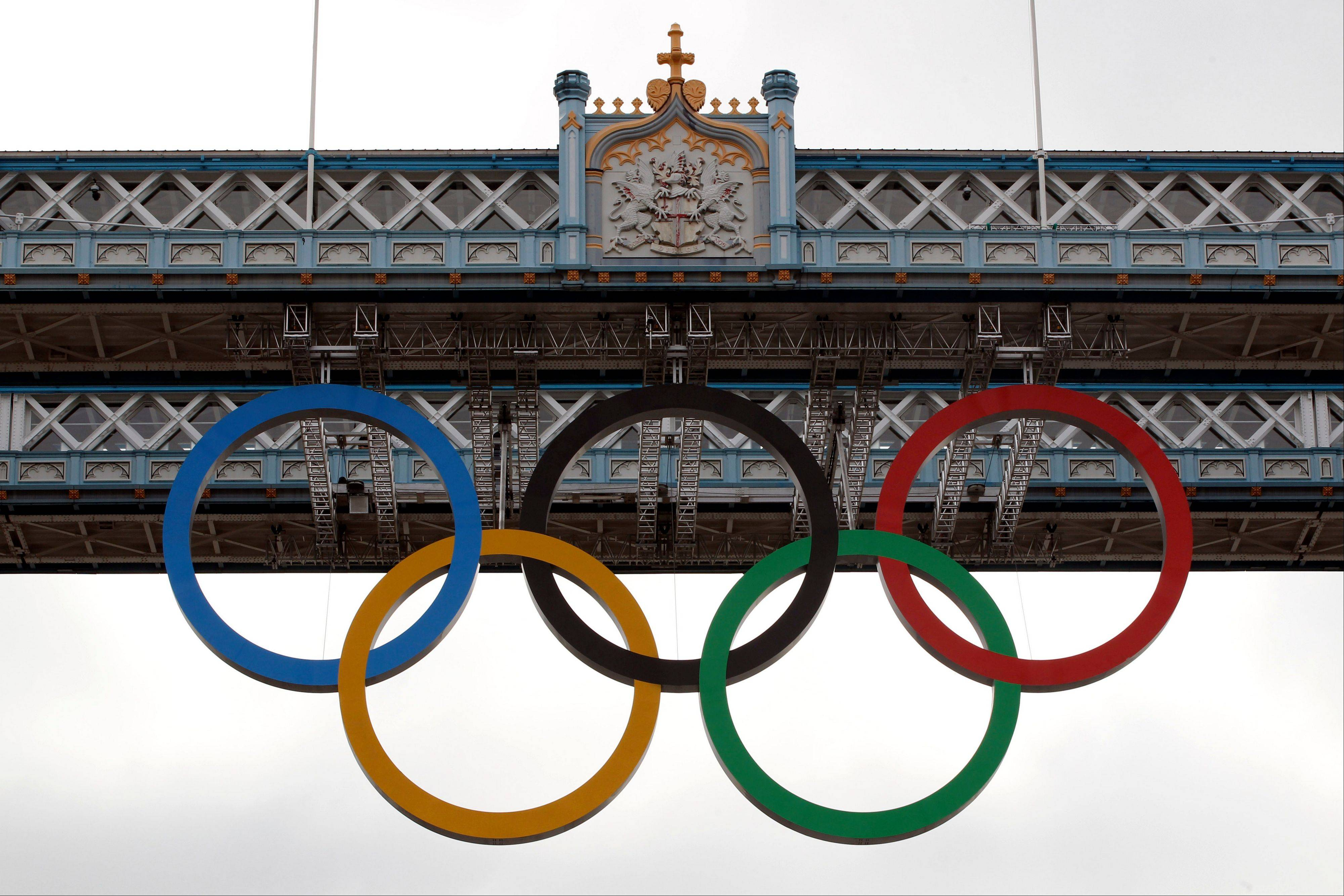 The Olympic rings hanging from the Tower Bridge in London are fully retractable to allow for tall ships to pass through the bridge.
