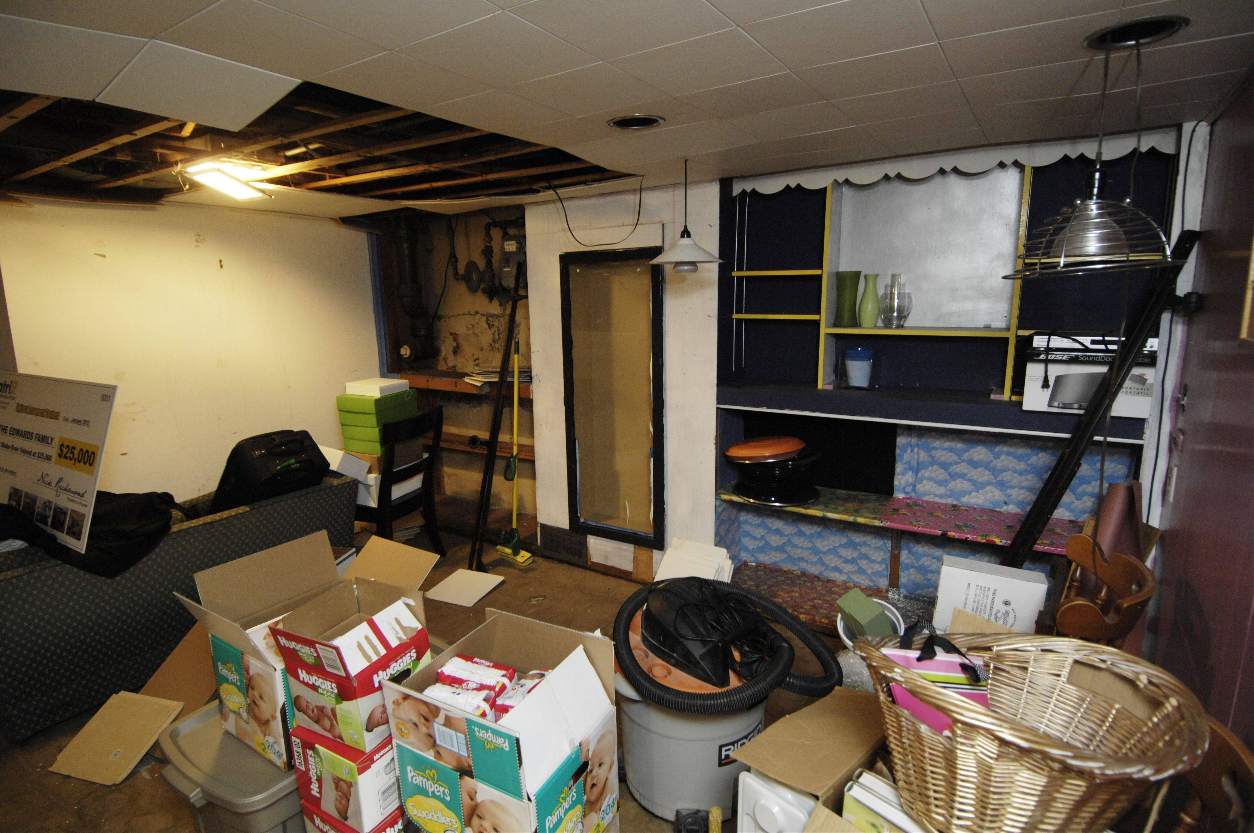 Before winning the basement makeover, Arlington Heights residents Matt and Anne Edwards primarily used their basement for storage.