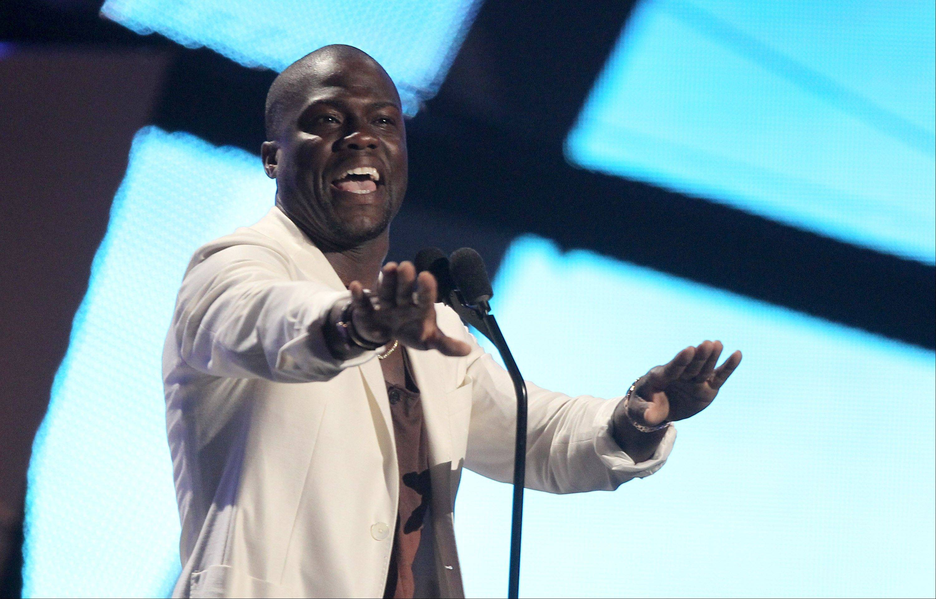 Kevin Hart introduces a performance at the BET Awards on Sunday in Los Angeles.
