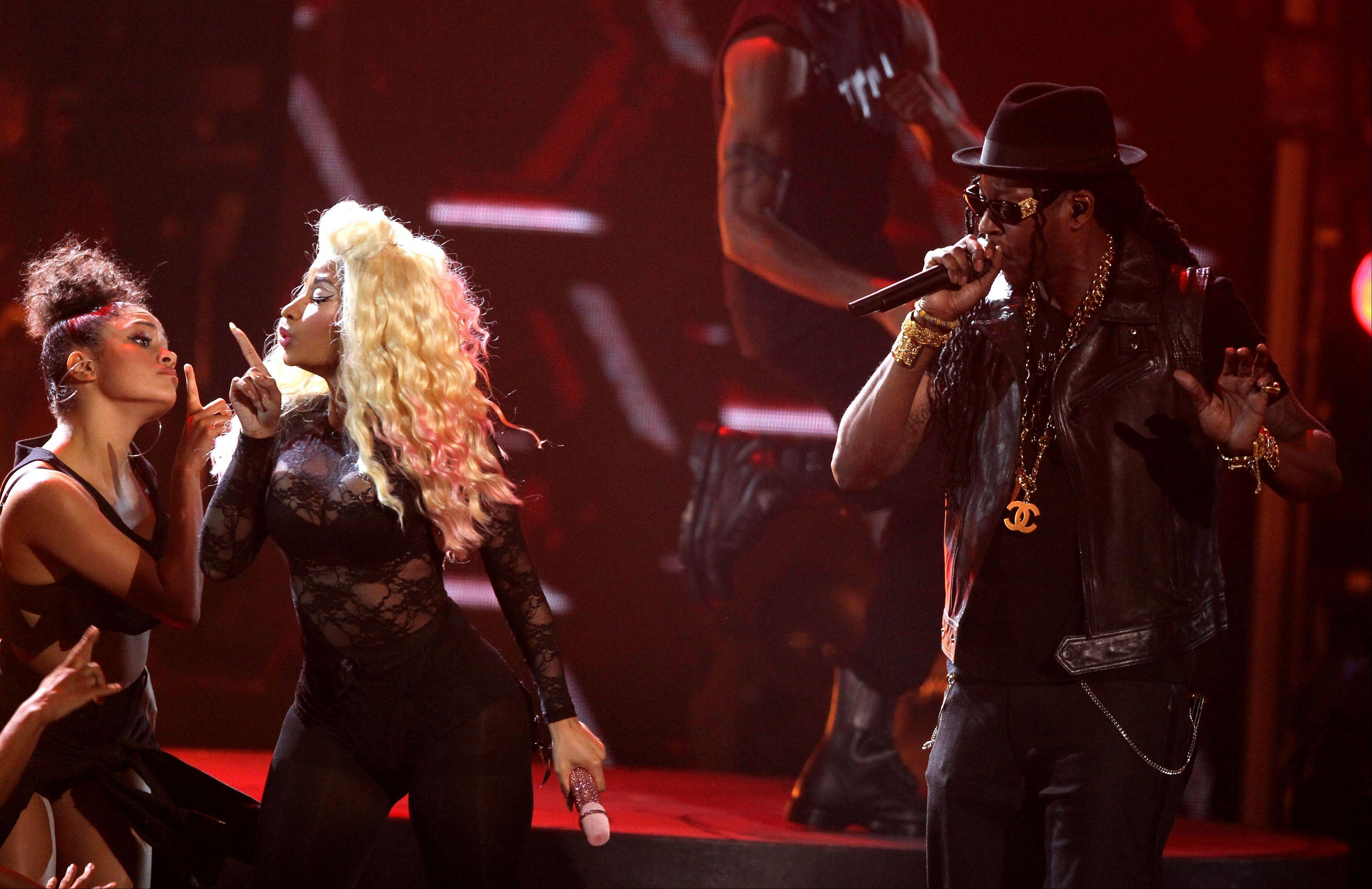 Nicki Minaj, second left, and 2 Chainz perform at the BET Awards on Sunday in Los Angeles.