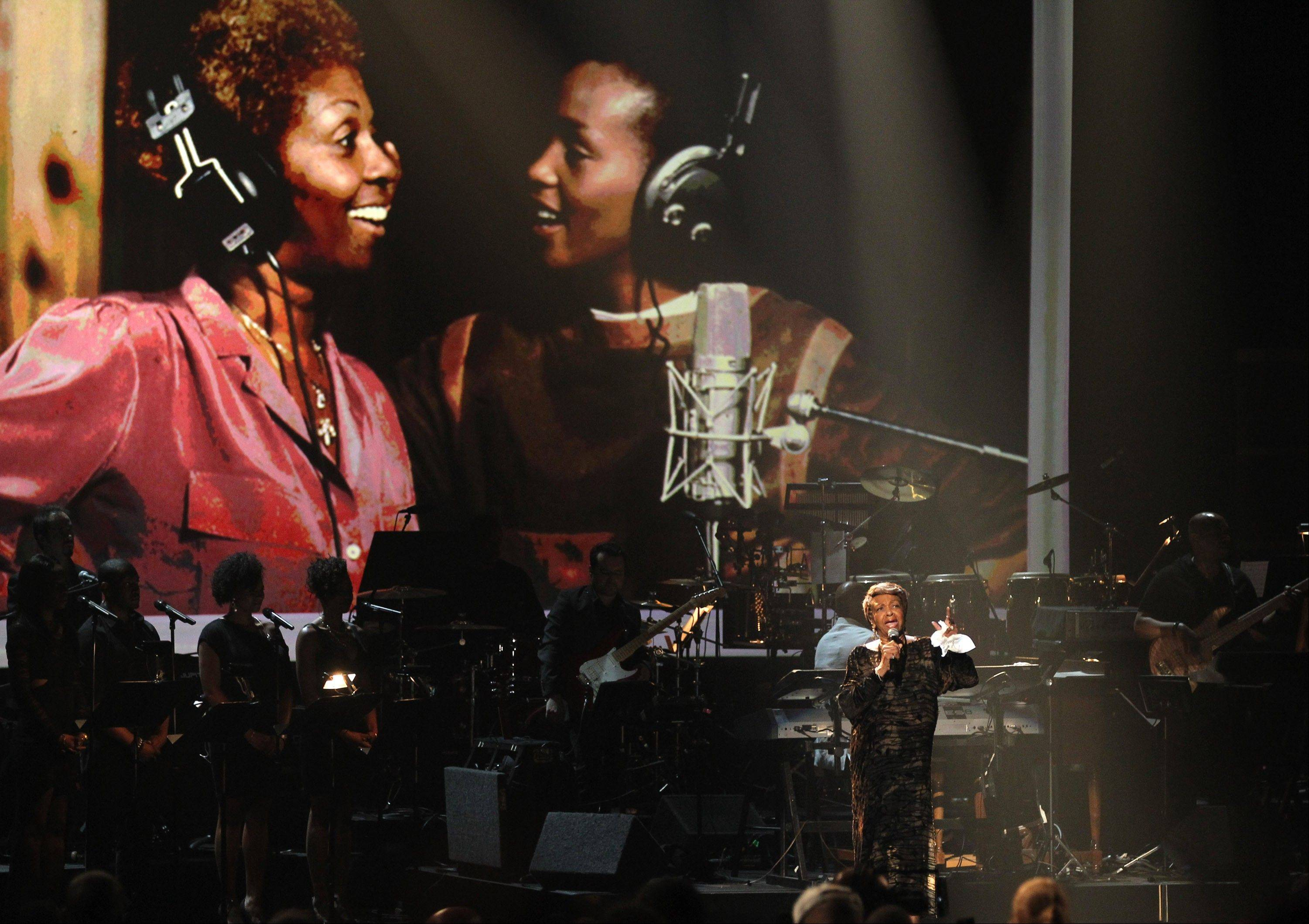 Cissy Houston performs during the in memoriam to her daughter Whitney Houston at the BET Awards on Sunday in Los Angeles.