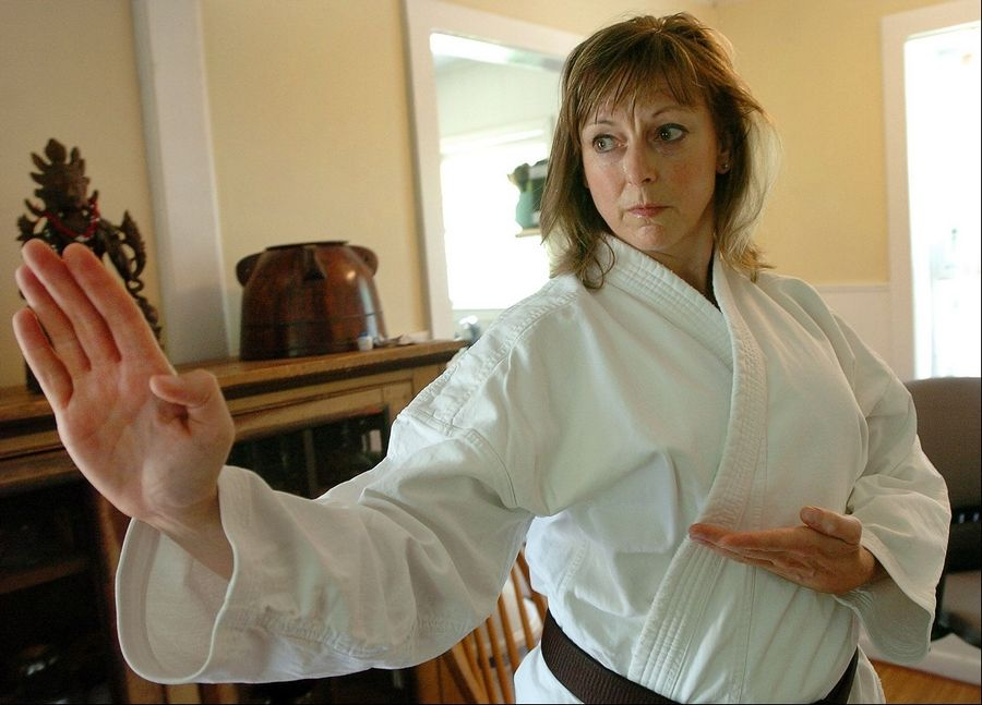 Belle Staurowsky of Oakwood Hills spent April in India training girls who are victims of sex trafficking in self-defense. Here she makes a Shotokan karate move.
