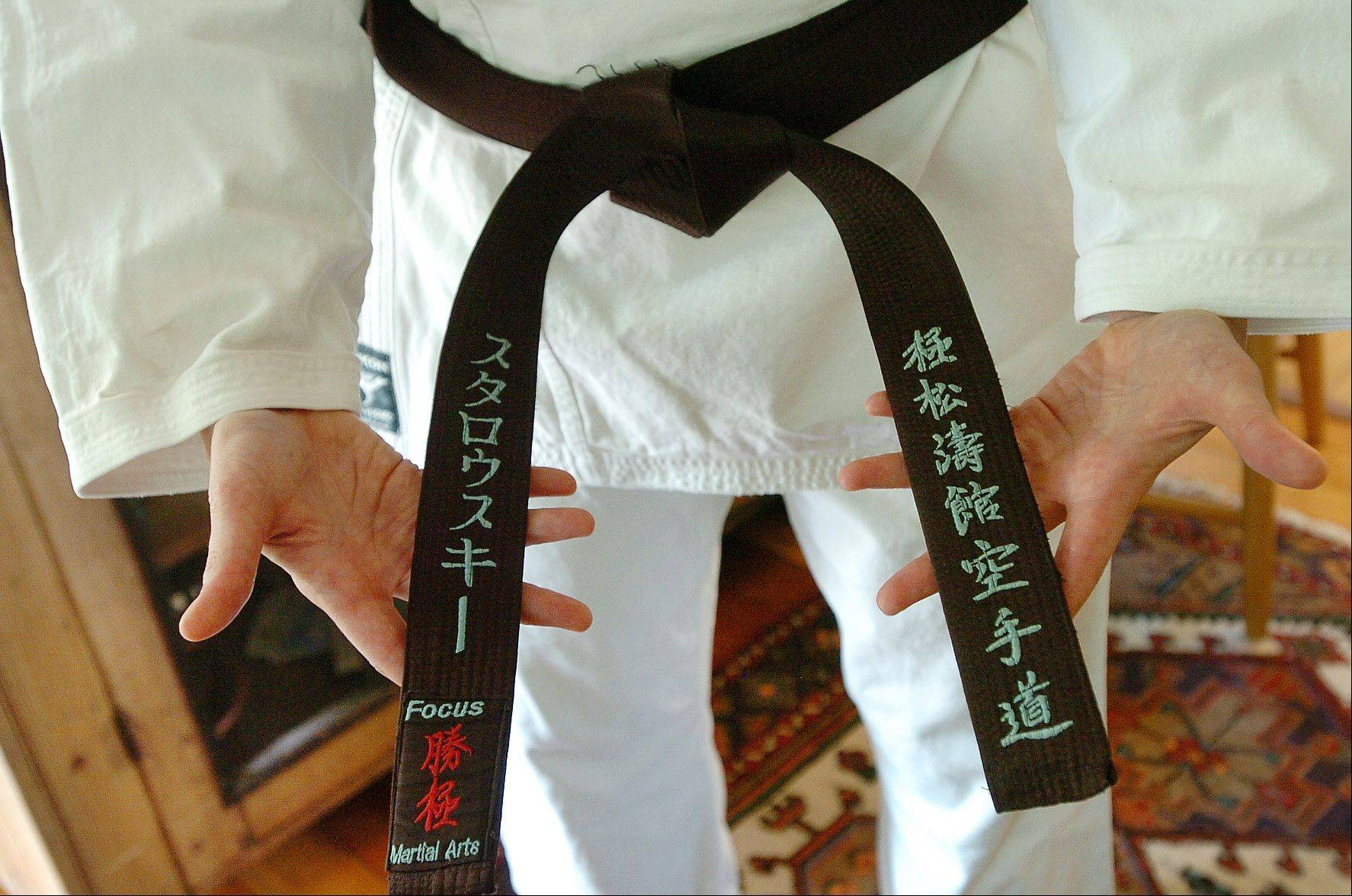This is Belle Staurowsky's black belt in karate. She trains at Focus Martial Arts & Fitness in Lake in the Hills.