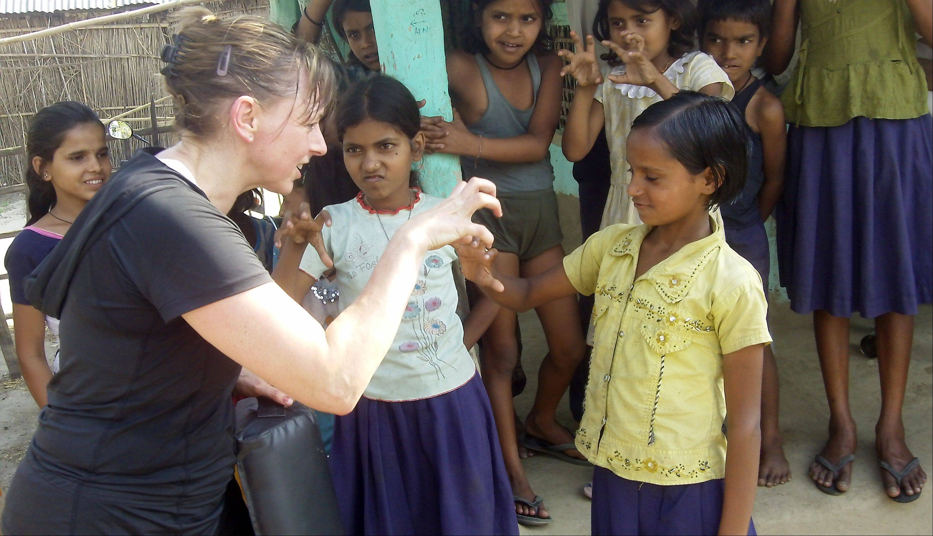 Belle Staurowsky teaches self-defense classes to girls in Babuan in the Indian state of Bihar.