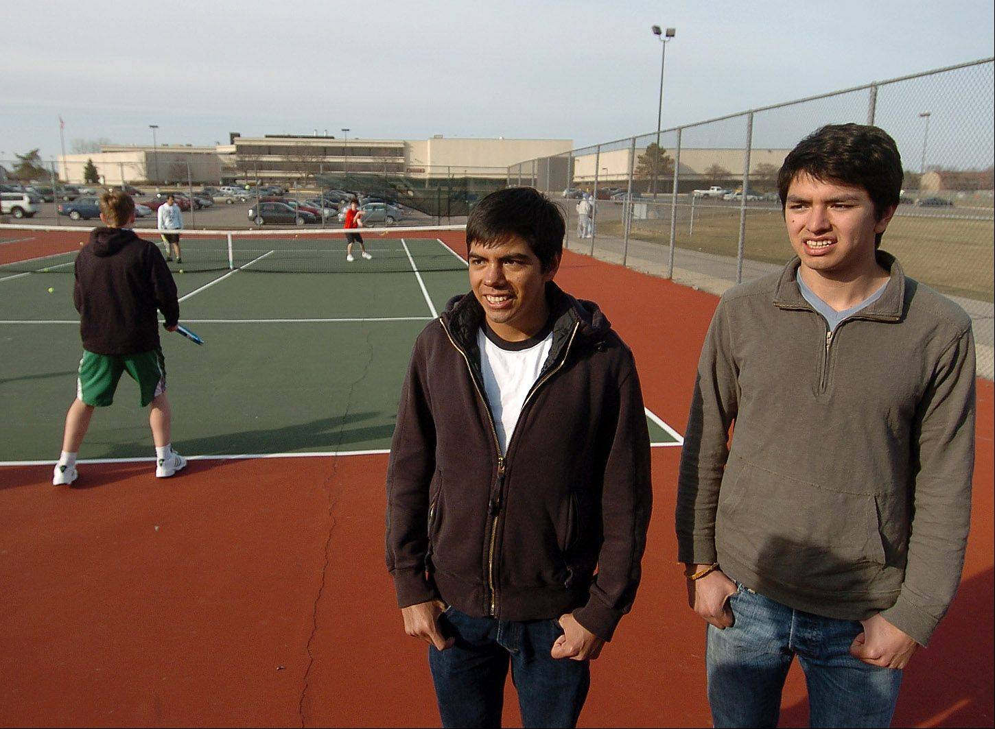 Rafael and Carlos Robles visit the Palatine tennis courts.