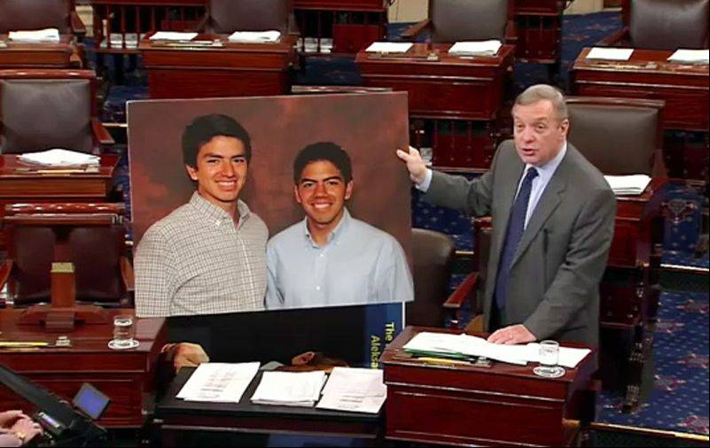 "Using Carlos and Rafael Robles as the ""poster boys"" for the DREAM Act, U.S. Sen. Dick Durbin explains why the Palatine brothers born in Mexico are worthy of changes in immigration law that would allow them to study, work and eventually become citizens in the United States."