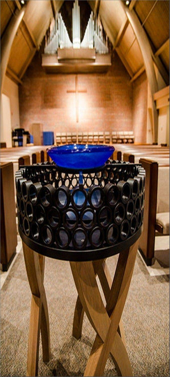 The new baptismal font is Reich's personal favorite.