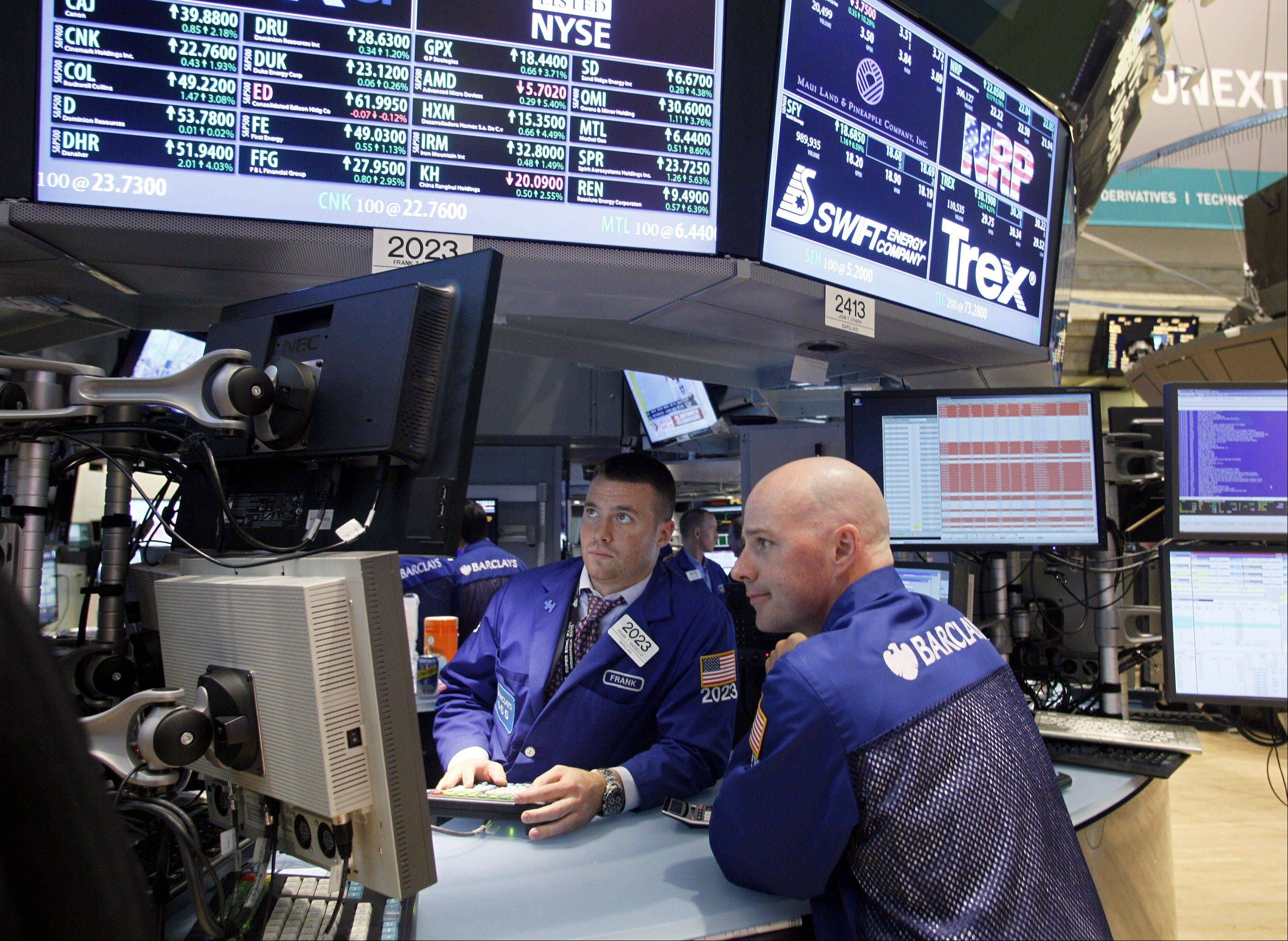 U.S. stocks on Monday showed some optimism about recently announced measures in Europe to stave off a debt crisis and hopes that interest rates there will be cut this week. Yet gains are being tempered with more evidence of a broader slowdown in China.