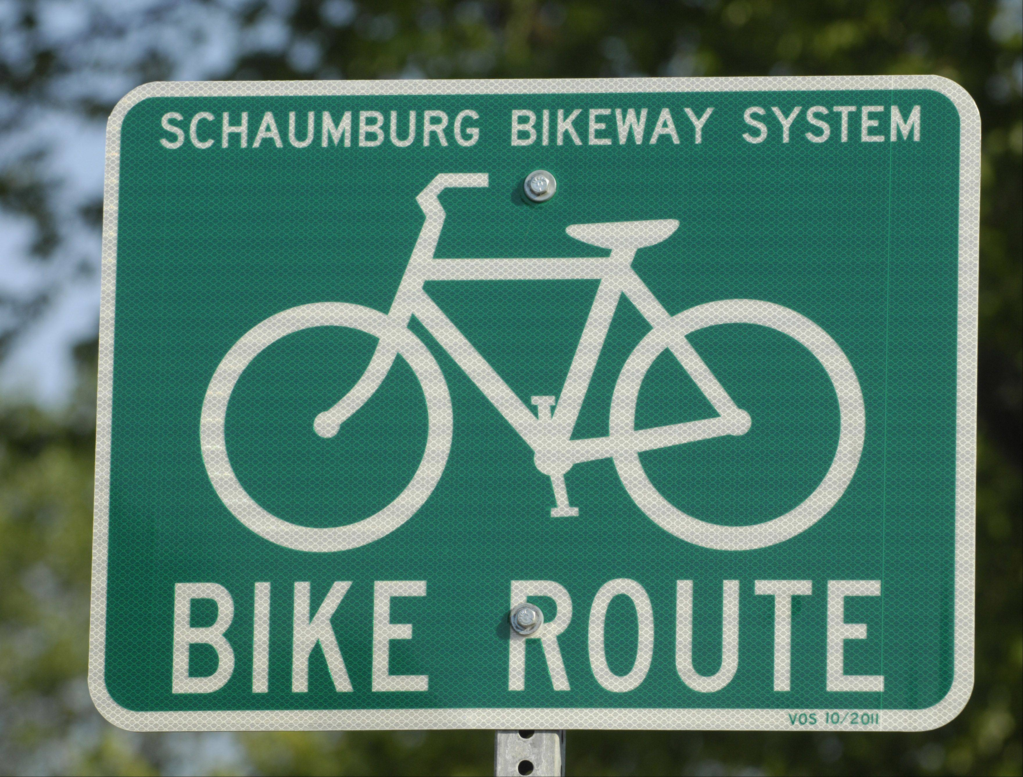 New bike route signs are in place near the intersection of Weathersfield Way and Summit Drive in Schaumburg.