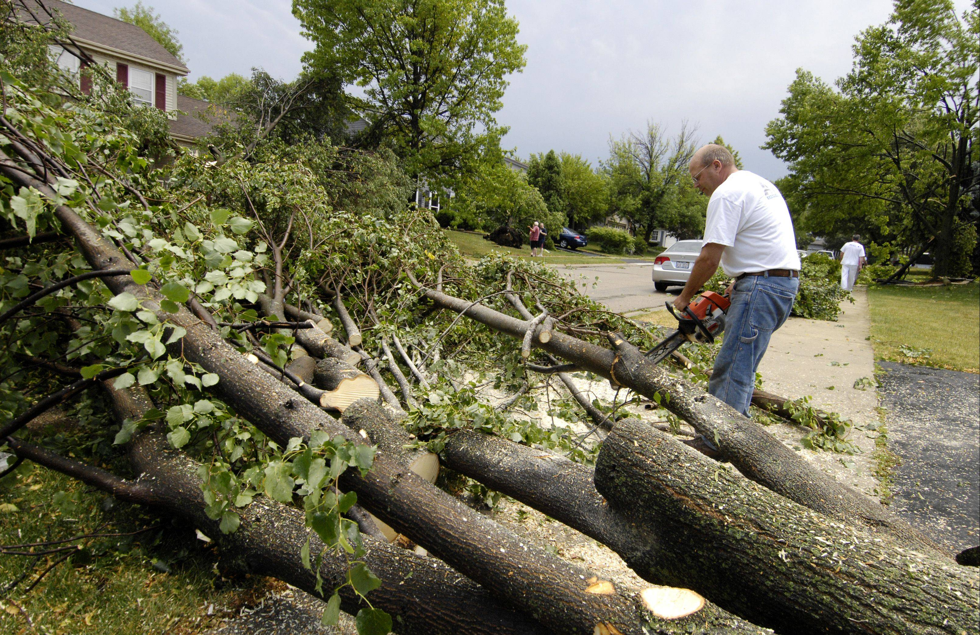 Randy Norback clears a downed tree in front of his Winfield home after an afternoon storm rolled through DuPage County on Sunday, leaving more than 190,000 ComEd customers without power.