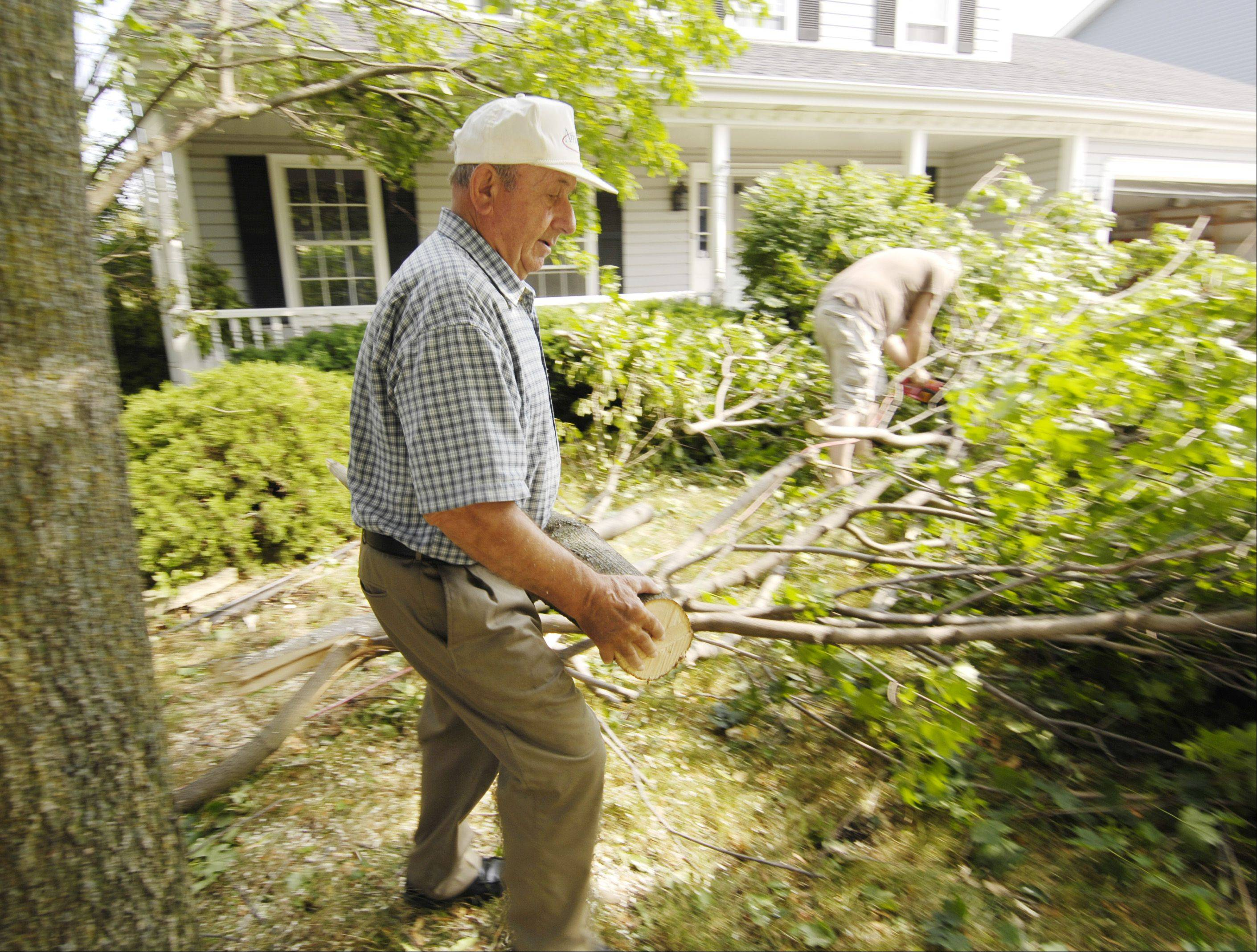 Mike Povkh and Ihor Kopytko clean up a yard in Winfield, Monday morning after Sunday storm downed trees in DuPage County.