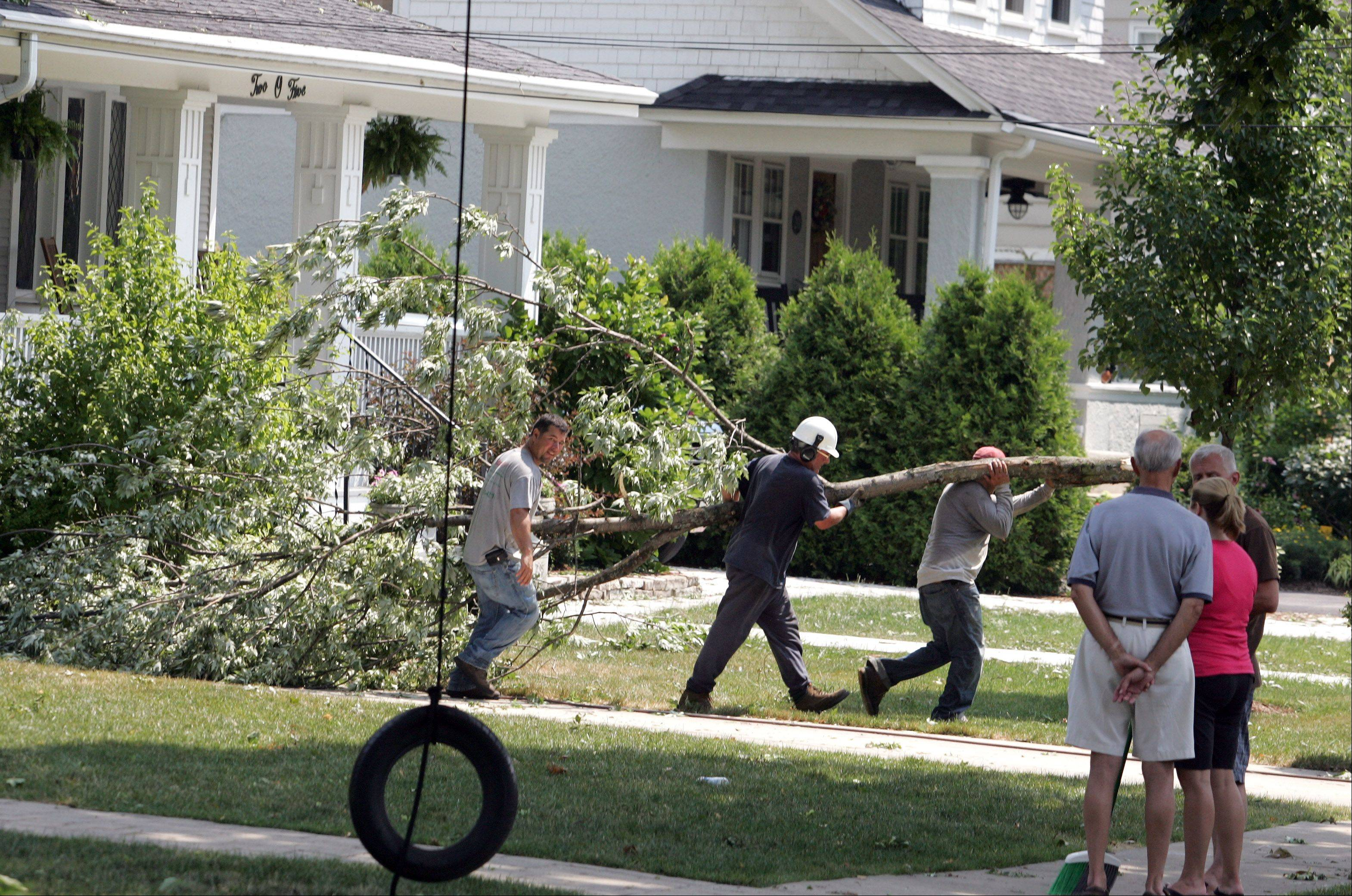 Crews carry away tree branches Monday morning after damage in the 200 block of West Jefferson in Wheaton due to Sunday's storm.