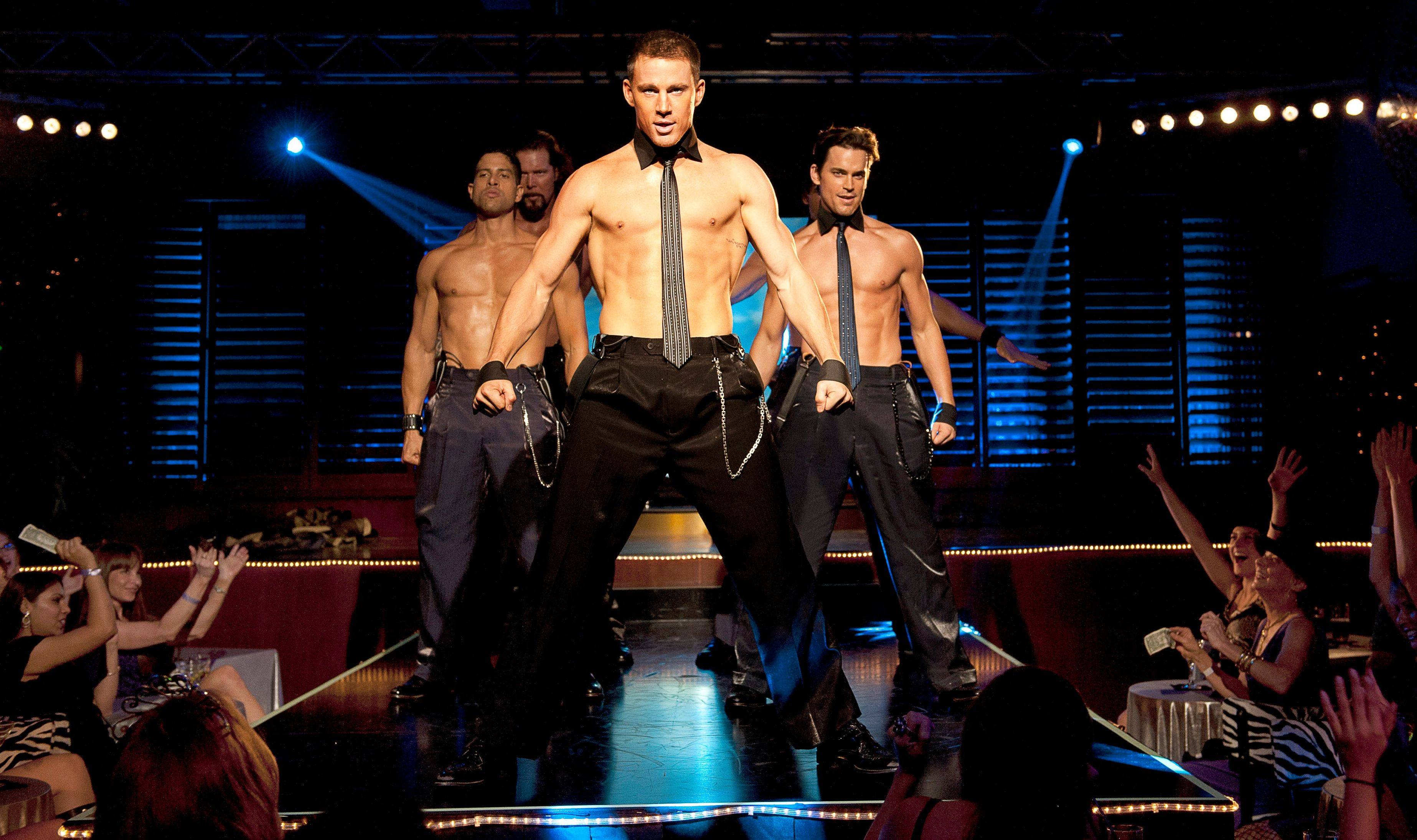"From left, Adam Rodriguez, Kevin Nash, Channing Tatum, and Matt Bomer in a scene from ""Magic Mike,"" which made nearly $40 million in its first weekend of release."
