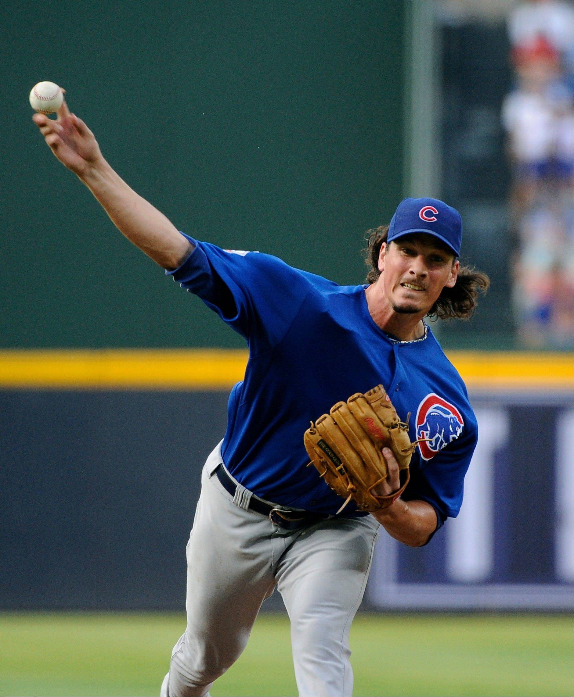 Chicago Cubs pitcher Jeff Samardzija (29) throws to the Atlanta Braves in the first inning of their baseball game on Monday at Turner Field in Atlanta.