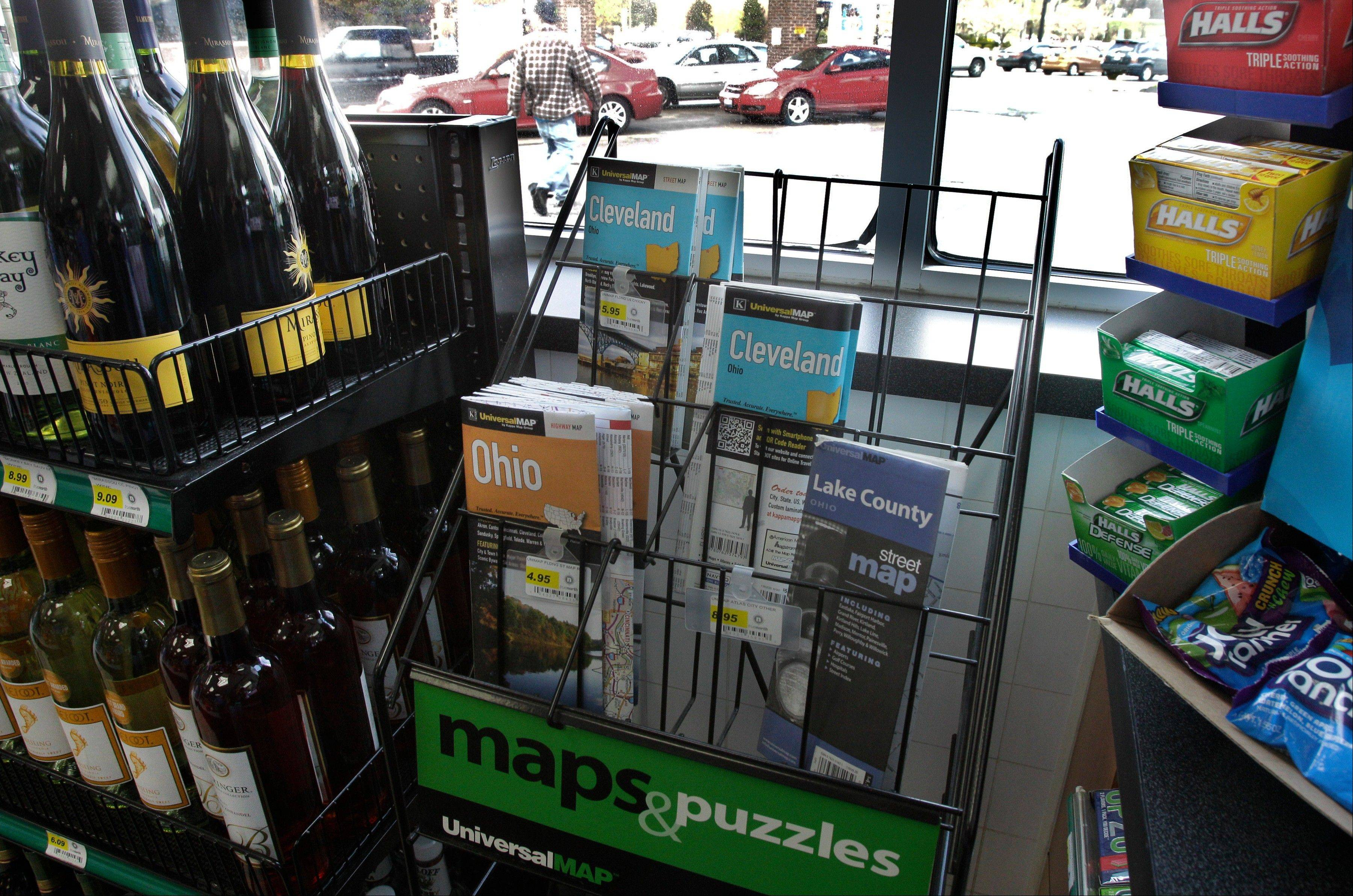 A scant rack of road maps at a gas station/mini mart in Solon, Ohio.
