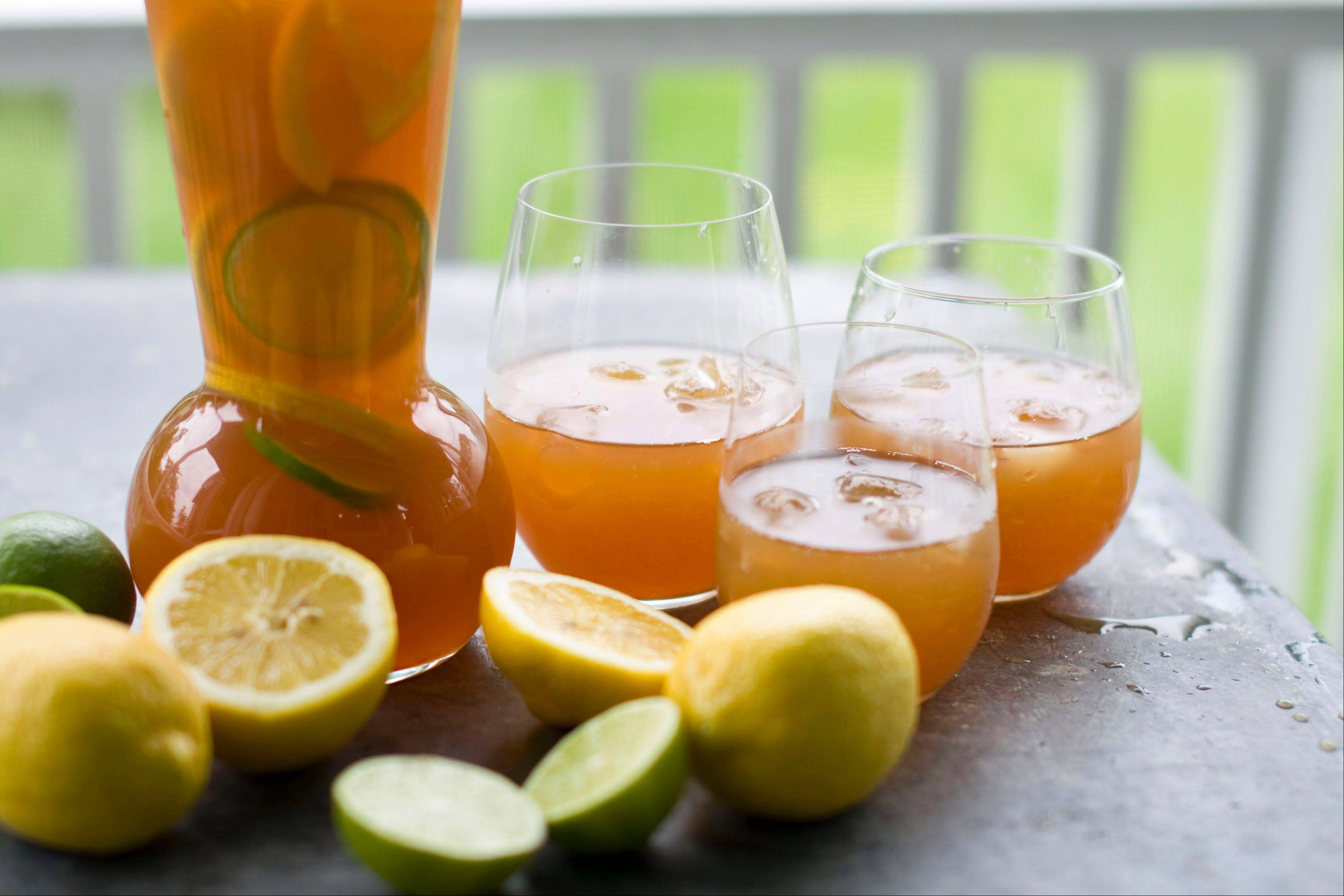 This refreshing summer punch mixes orange, lemon and lime juices with black and mint tea.