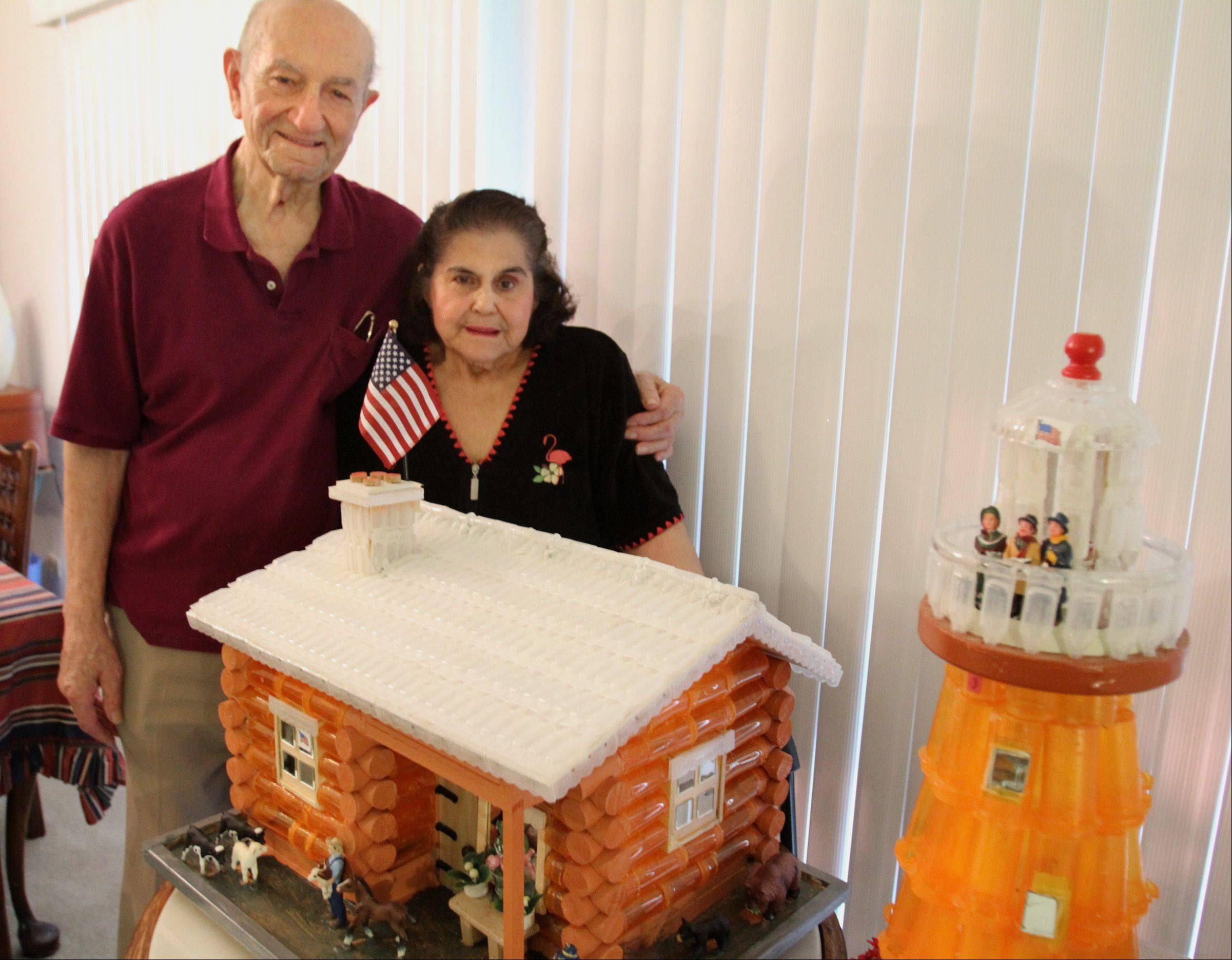 With his wife, Beatrice, taking lots of medications, 93-year-old World War II veteran Jake Joseph of Prospect Heights decided to put all her empty pill bottles to use. The self-taught folk artist used 170 empty bottles and 175 spent inhalation tubes to craft this log cabin. The lighthouse is made from 60 bottles and 60 tubes.