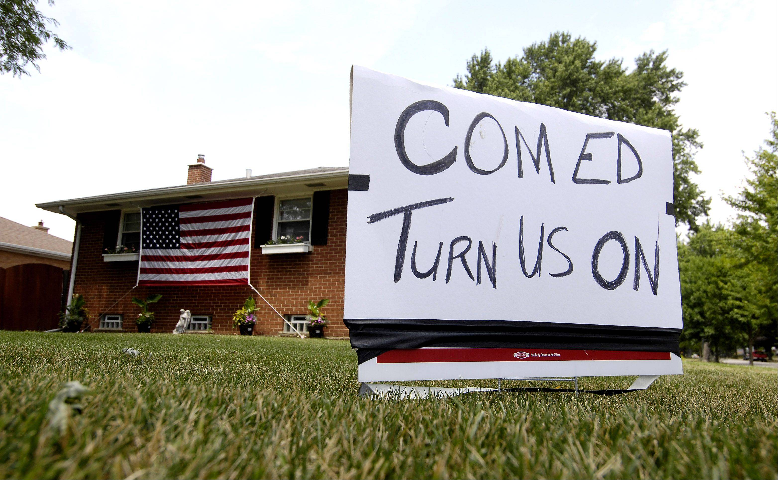 Residents in a home at the intersection of Madison Street and Lewis Avenue in Lombard posted a plea for ComEd to restore power to their street.
