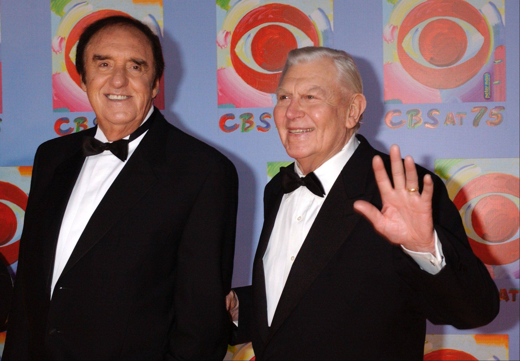 Actors Jim Nabors, left, and Andy Griffith arrive to CBS's 75th anniversary celebration Sunday, Nov. 2, 2003, in New York.