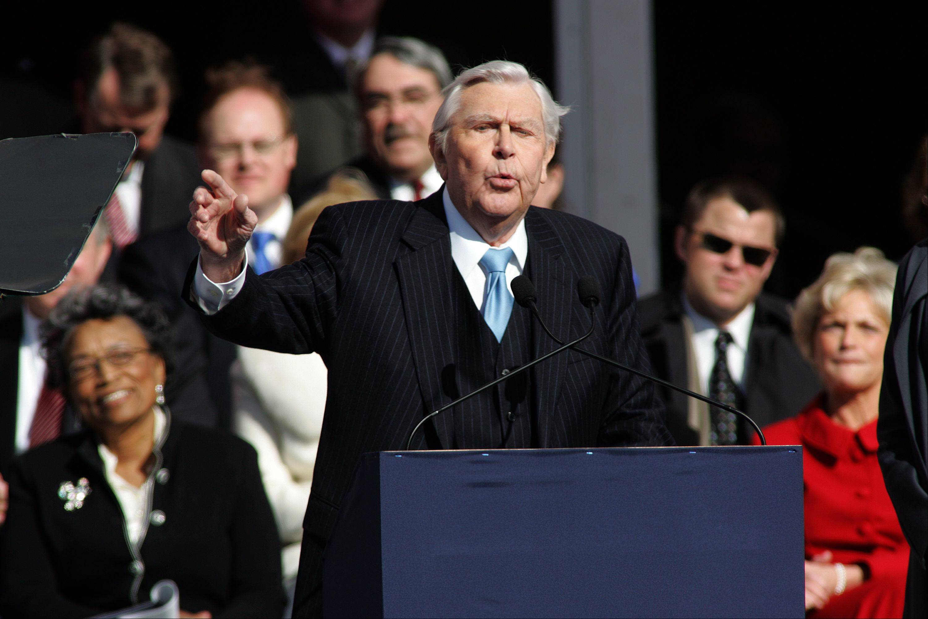 Actor Andy Griffith reads poem after North Carolina Gov. Beverly Perdue was sworn into office during North Carolina inaugural ceremonies Saturday, Jan. 10, 2009 at the State Library building in Raleigh, N.C.