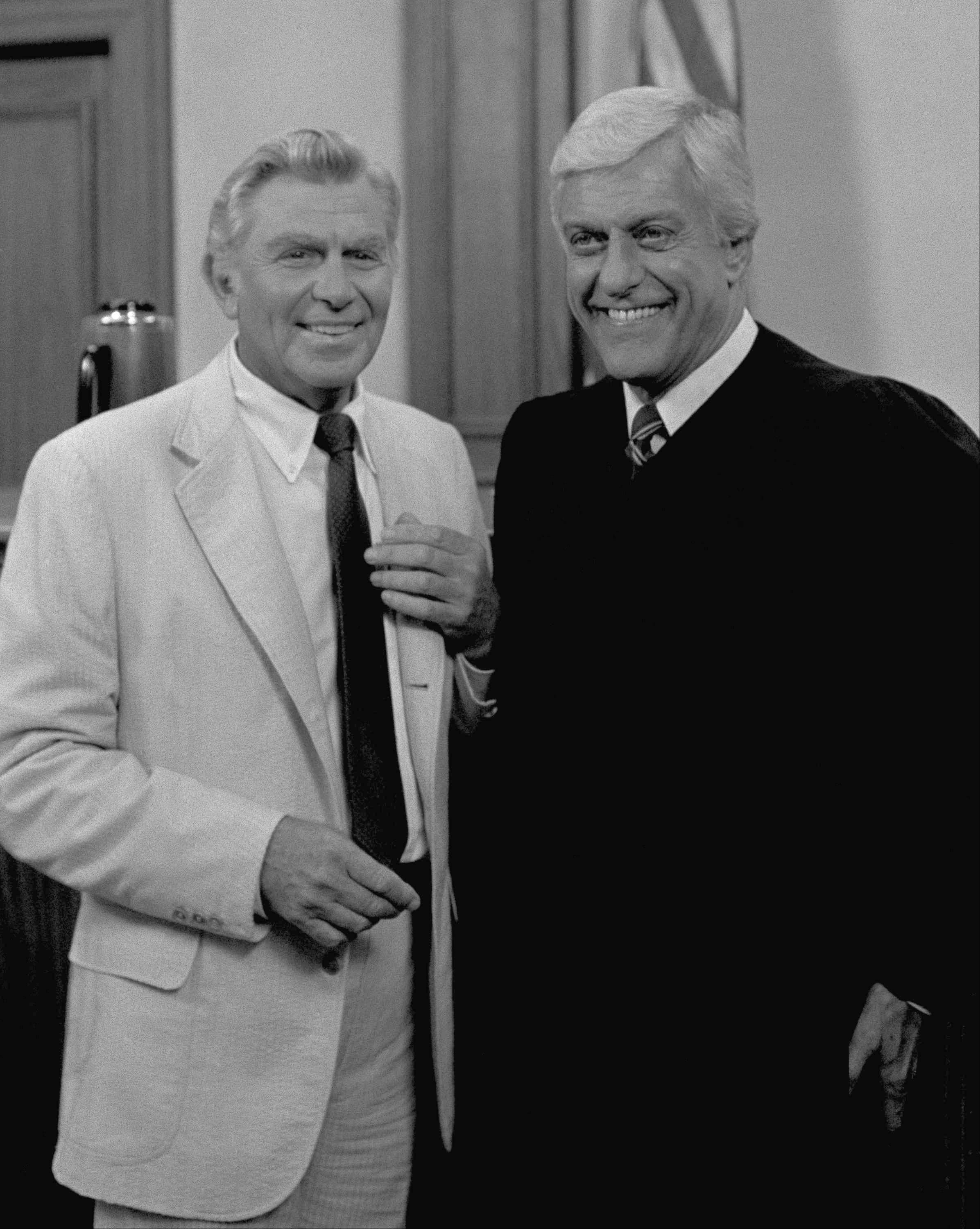 Actor Andy Griffith and Dick Van Dyke pose on the set of the series? Matlock? in which Griffith stars in March 1986.