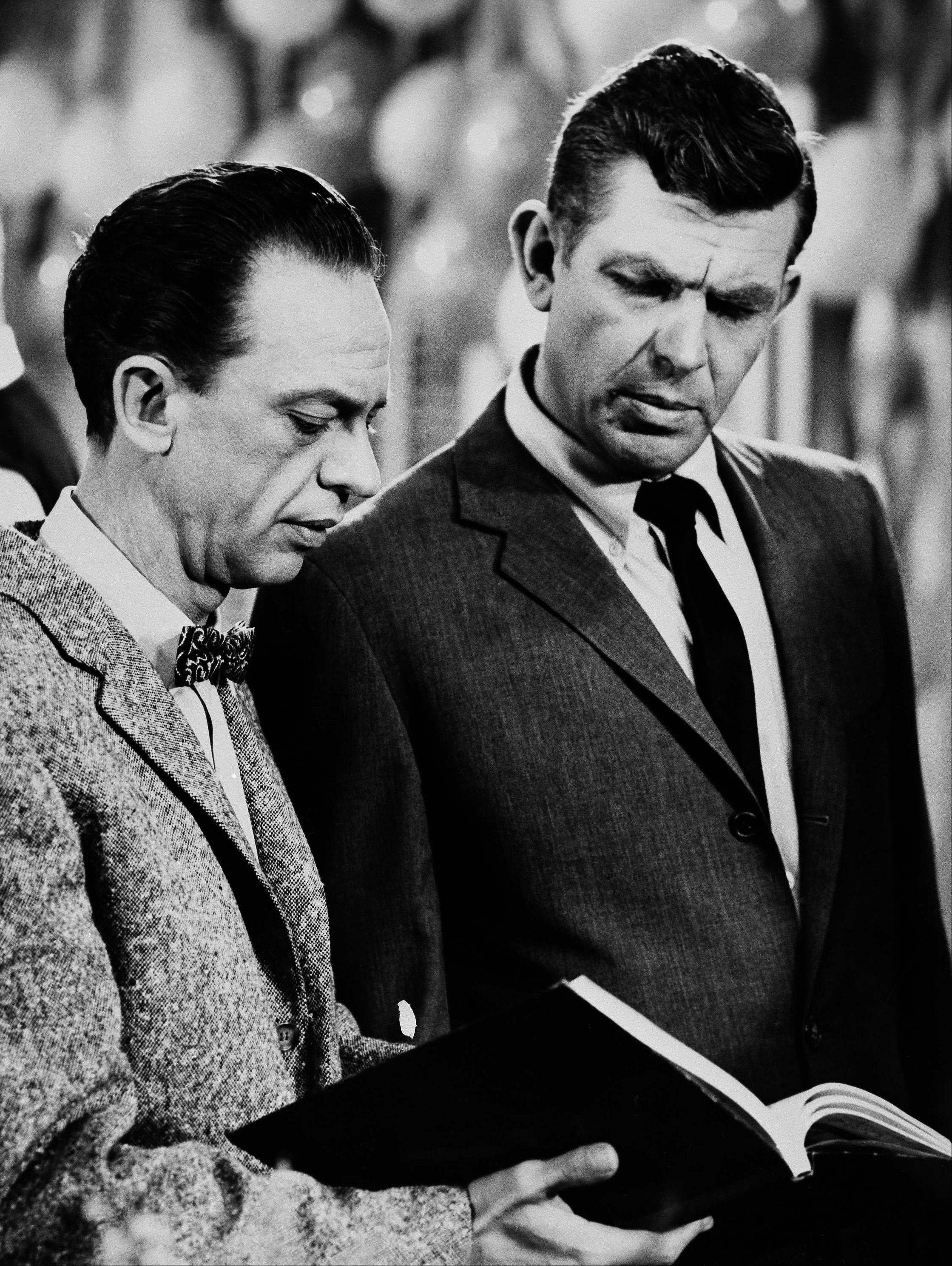 "Andy Griffith (right) as Sheriff Andy Taylor and Don Knotts (left) as Deputy Barney Fife, in a scene from the ""The Andy Griffith Show"", Jan. 24, 1963."