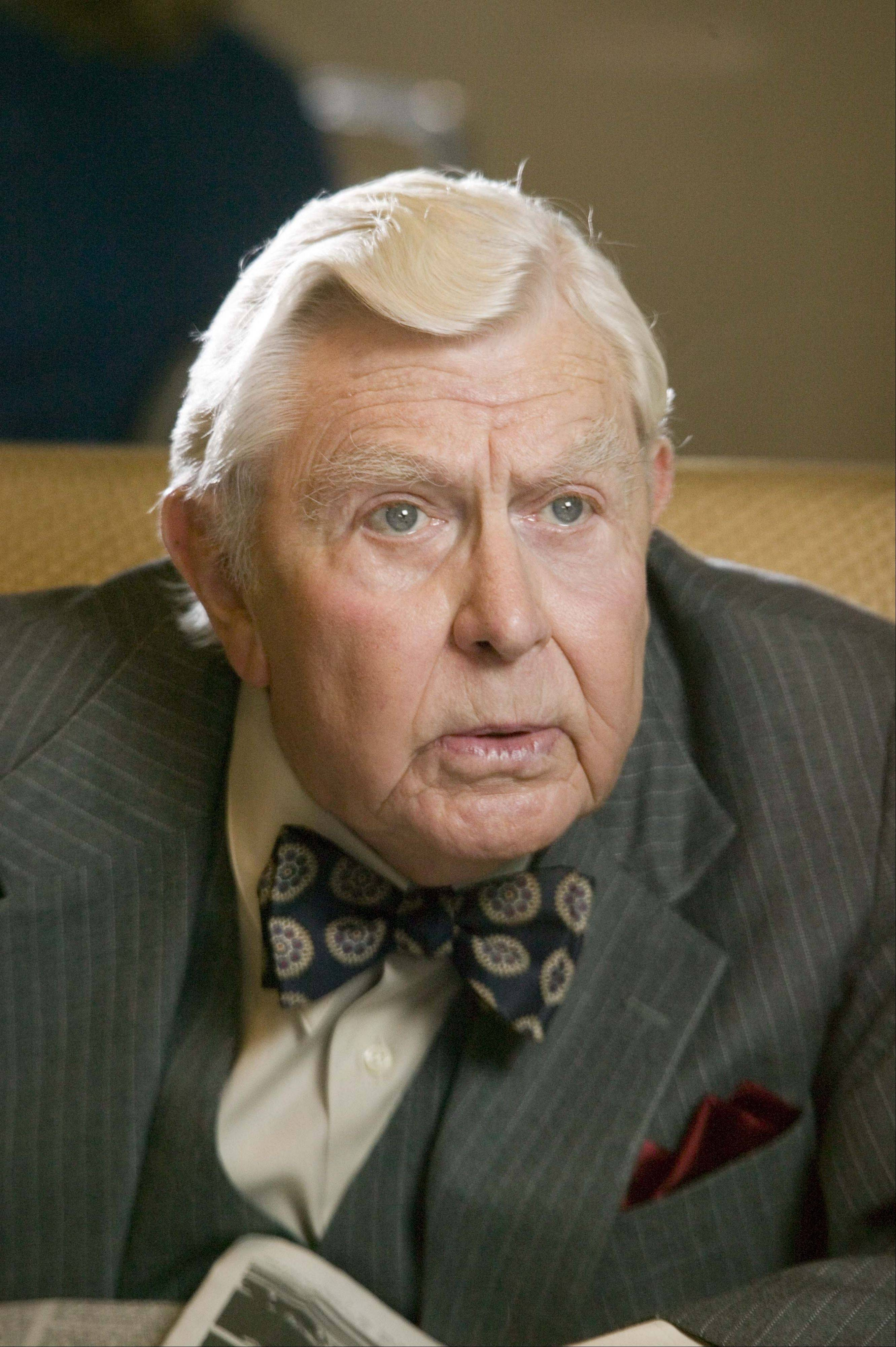 "This undated photo provided by Fox Searchlight Pictures shows actor Andy Griffith on the set of ""Waitress."" Griffith stars as a diner owner in the critically acclaimed film. At the age of 81, Andy Griffith has been discovered. But he's now a breakout star of sorts in the critically acclaimed ""Waitress."" He's only a supporting character in a movie starring Keri Russell as Jenna, a top-notch pie maker trying to leave her brutish husband, but steals the show as the cranky owner of the diner where she works."