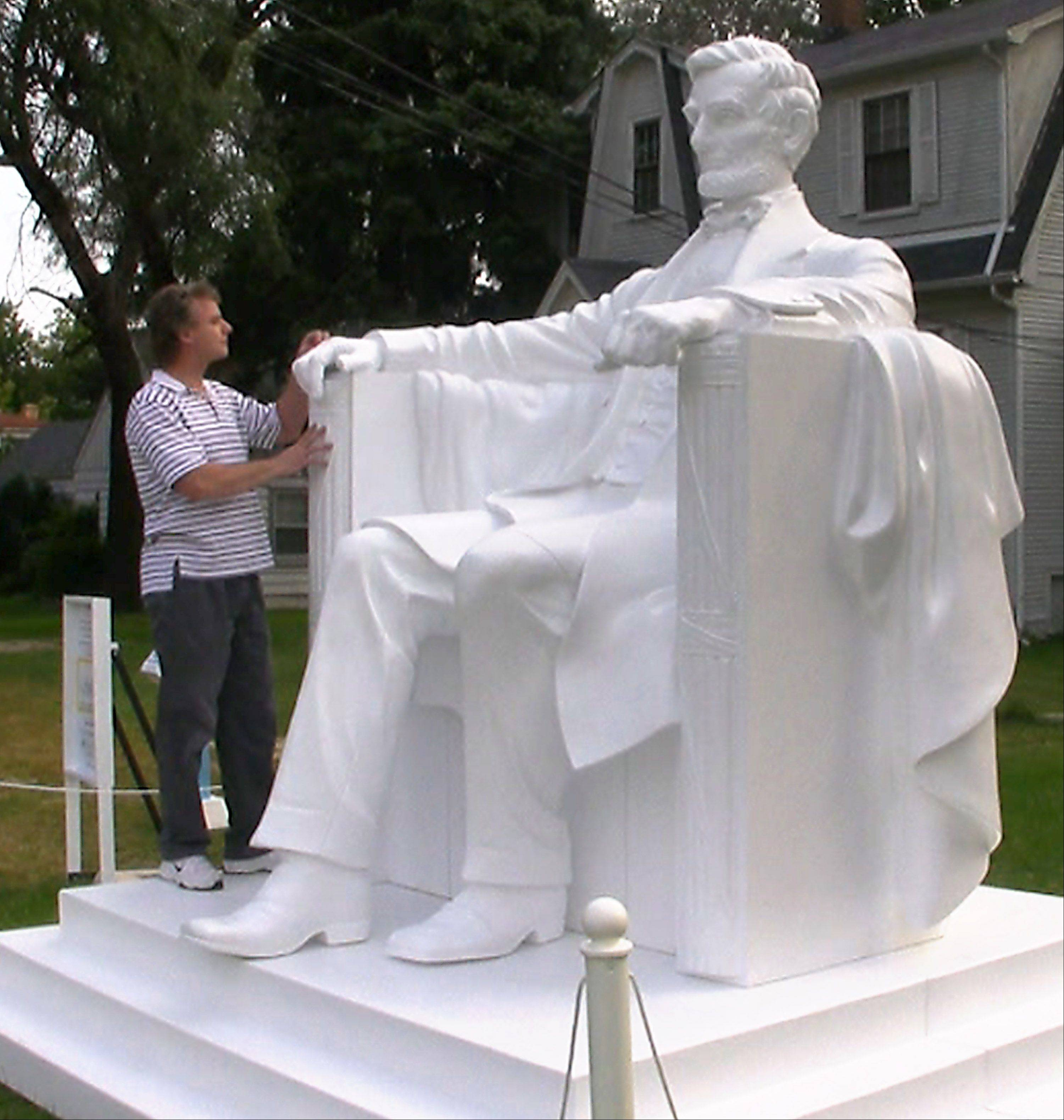 In 2007, Arlington Heights sculptor Fran Volz crafted a 10-foot-tall Abraham Lincoln in carving foam in front of his home.