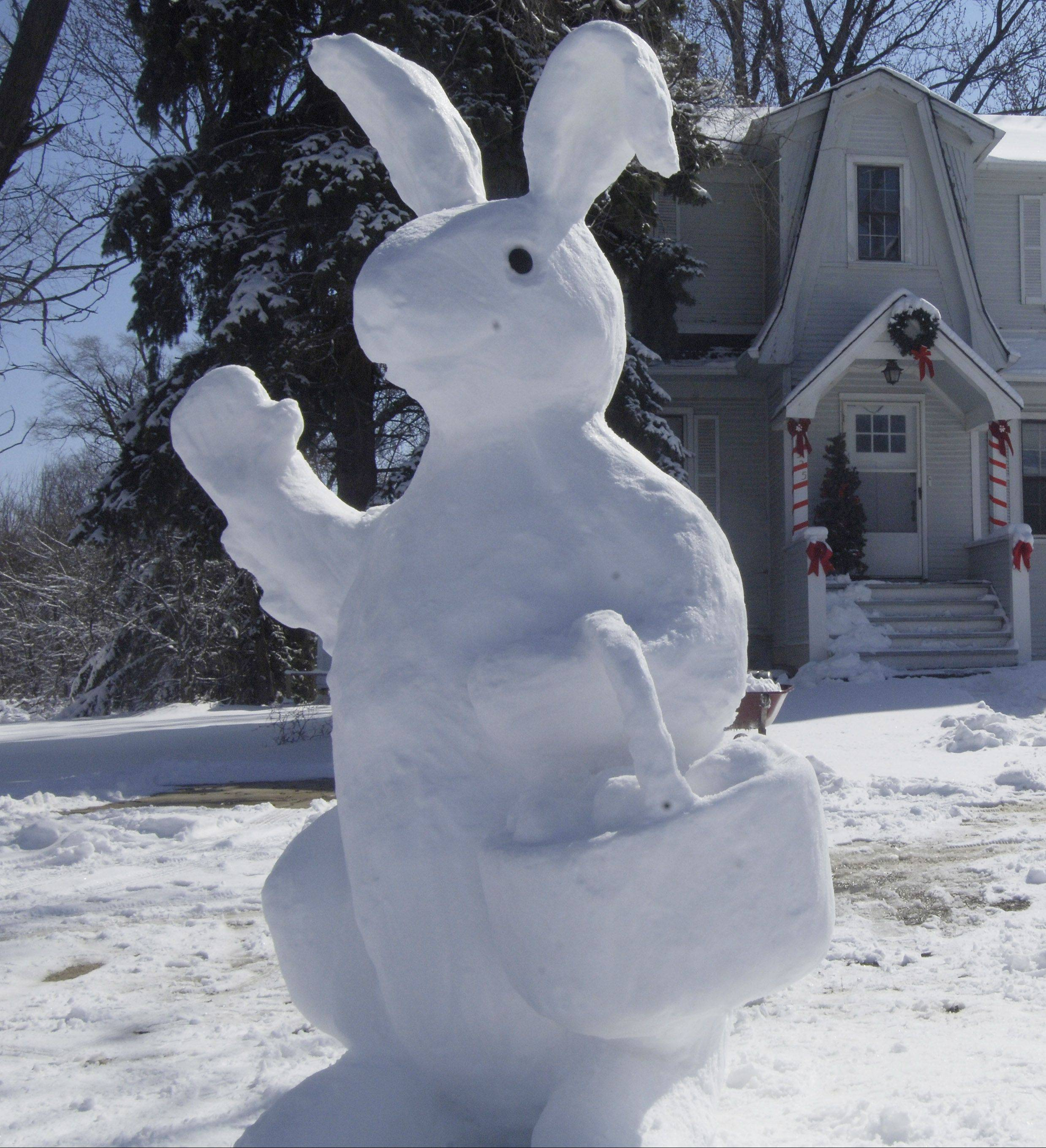 This snow bunny took shape outside Fran Volz's Arlington Heights home in 2008.