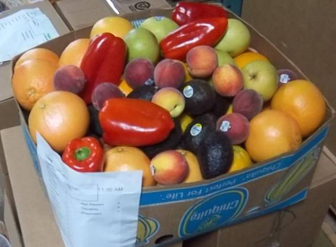 Fresh produce waiting to be distributed to needy families.