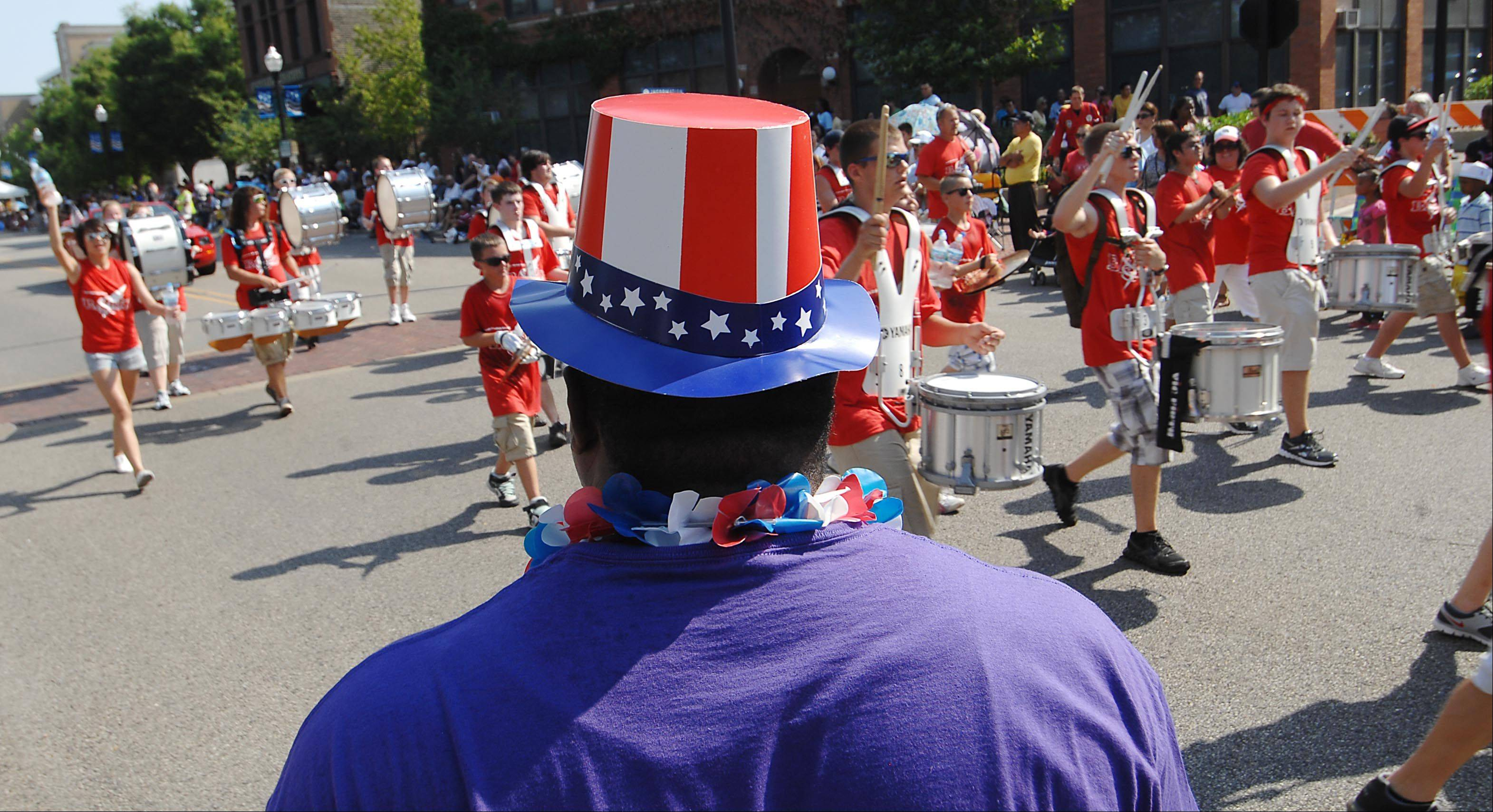 The South Elgin marching band performs Wednesday at Elgin Fourth of July parade.